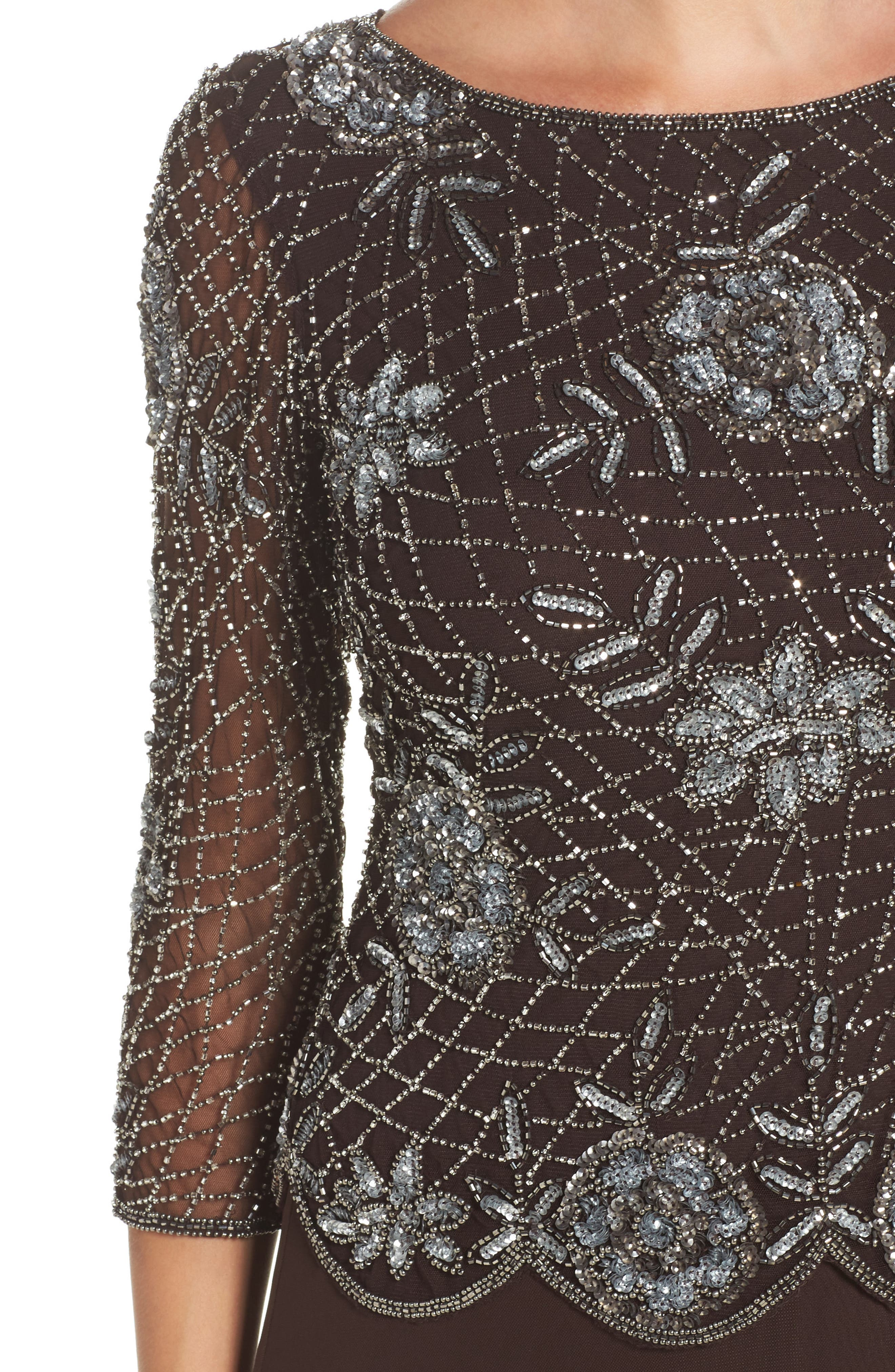 Embellished Mesh Gown,                             Alternate thumbnail 4, color,                             Chocolate
