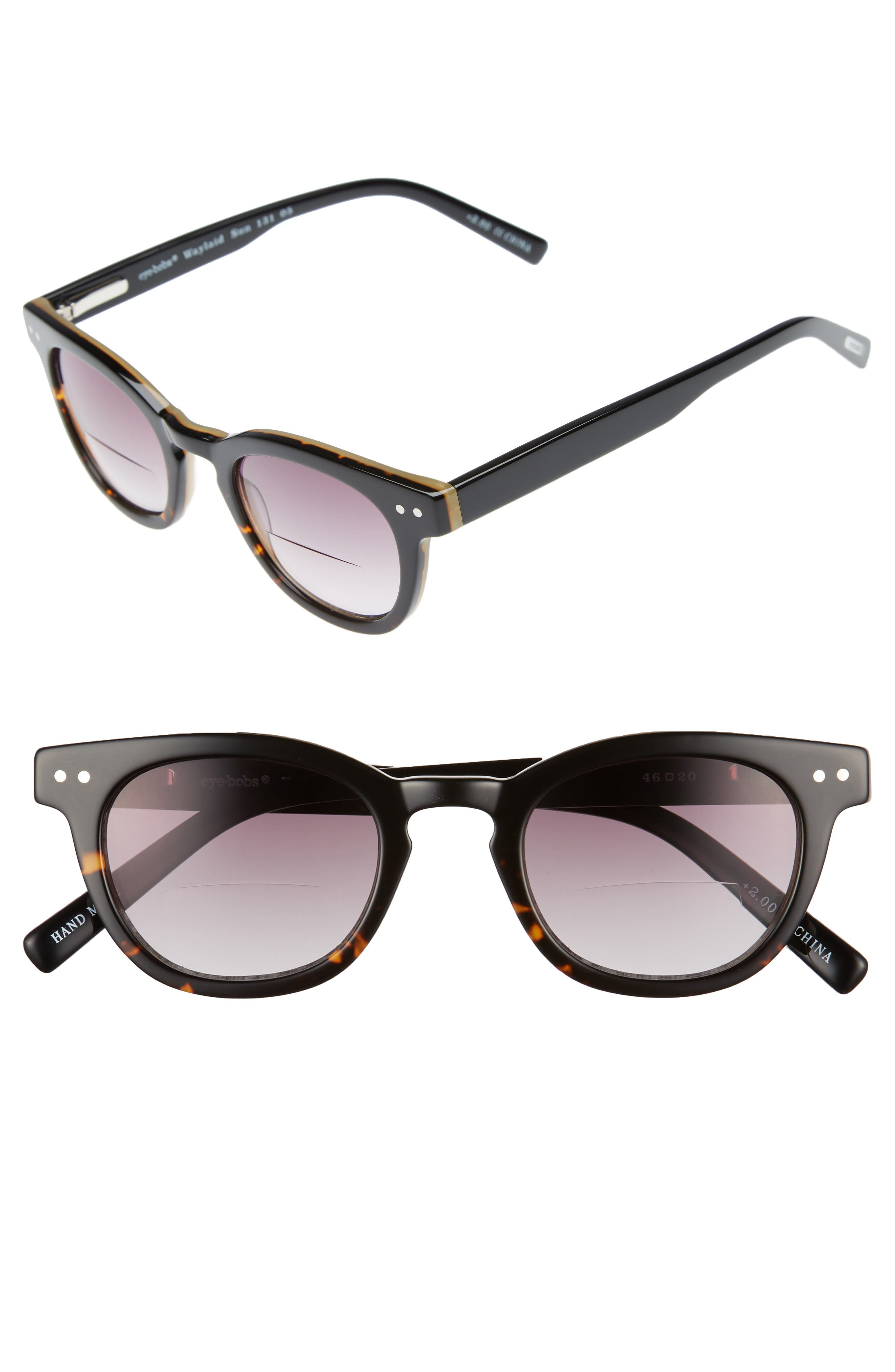 Laid 46mm Reading Sunglasses,                             Main thumbnail 1, color,                             Tortoise With Black