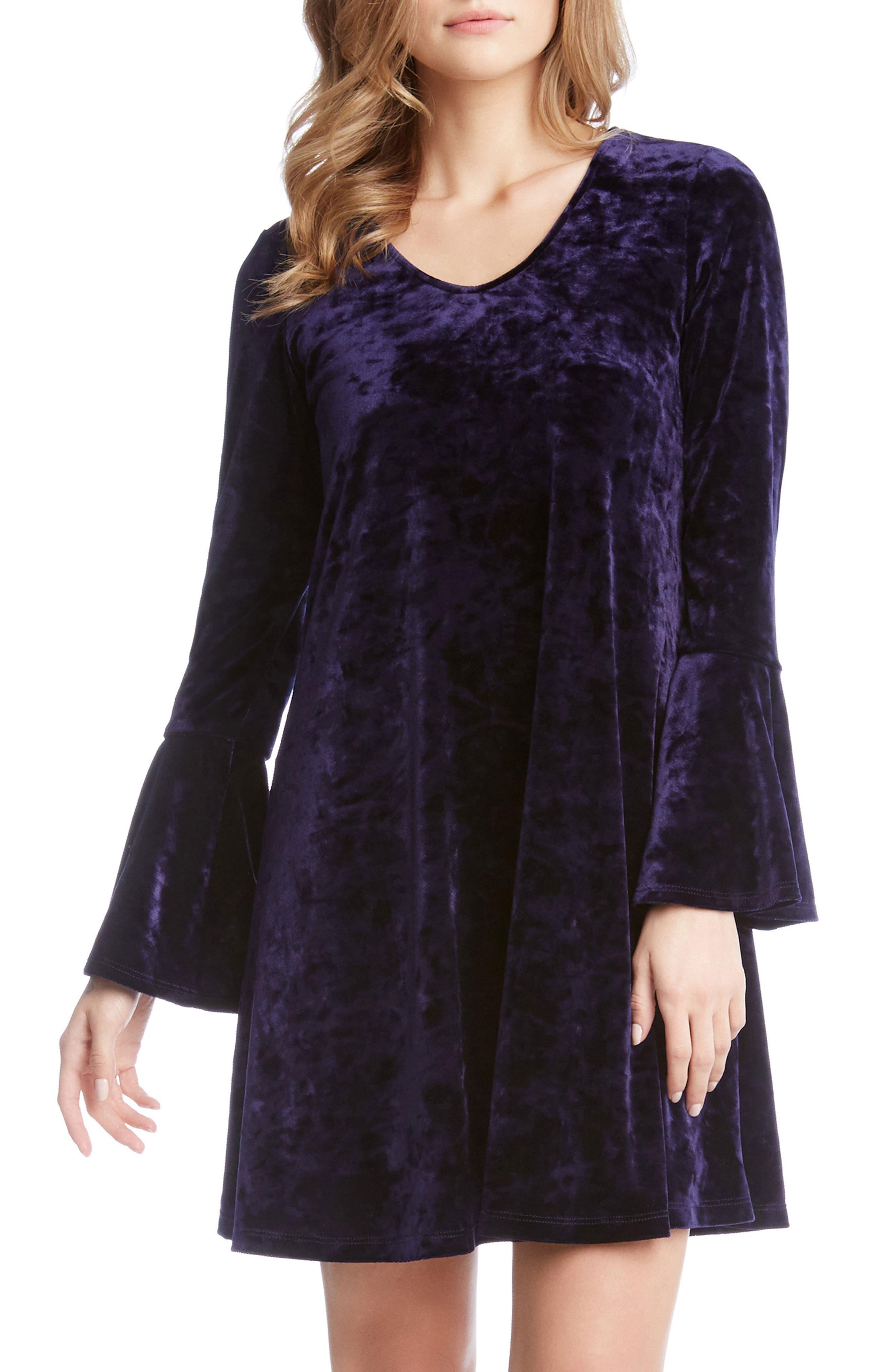 Main Image - Karen Kane Bell Sleeve Velvet Dress