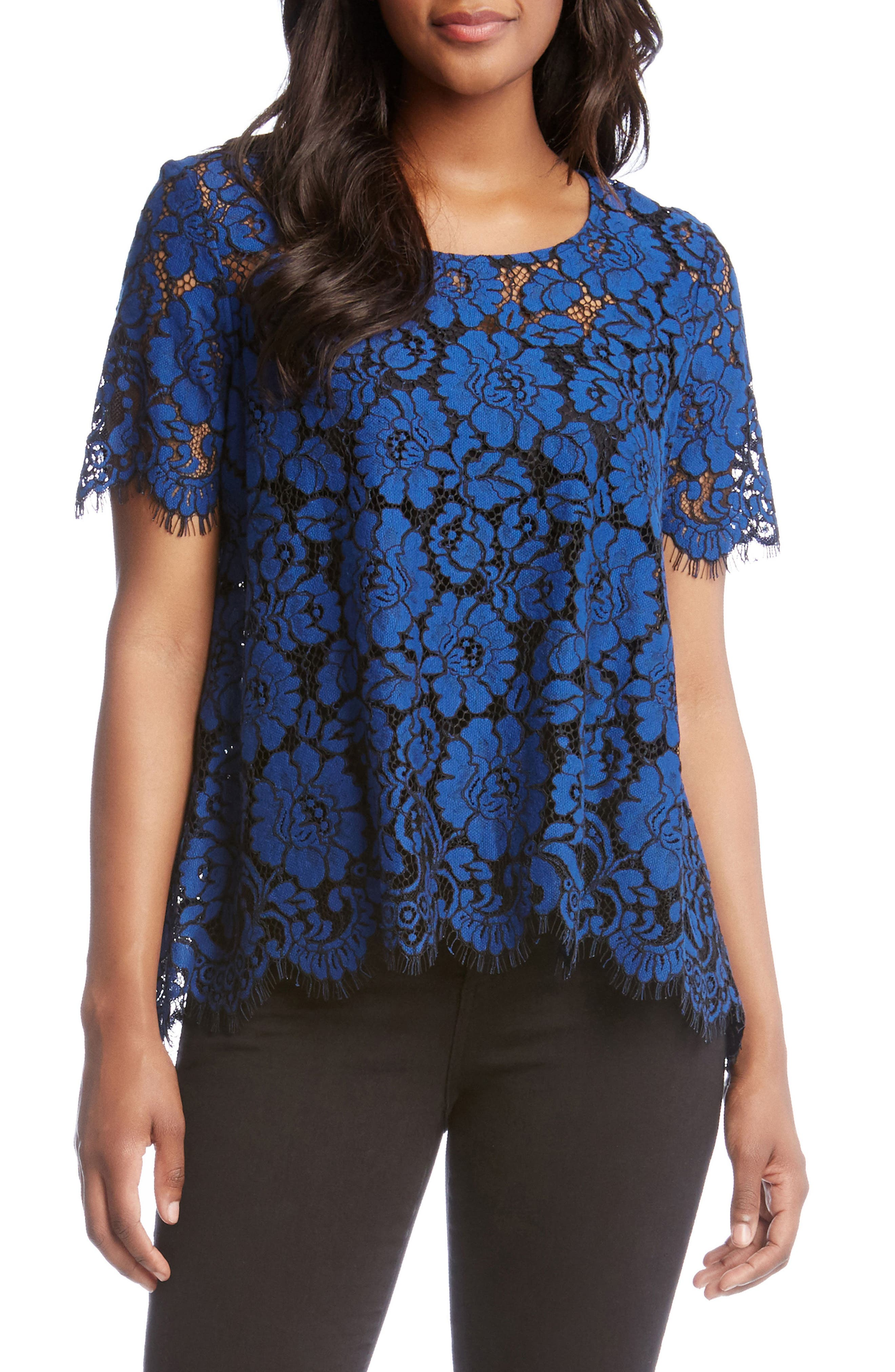 Flare Sleeve Lace Top,                         Main,                         color, Sapphire Blue