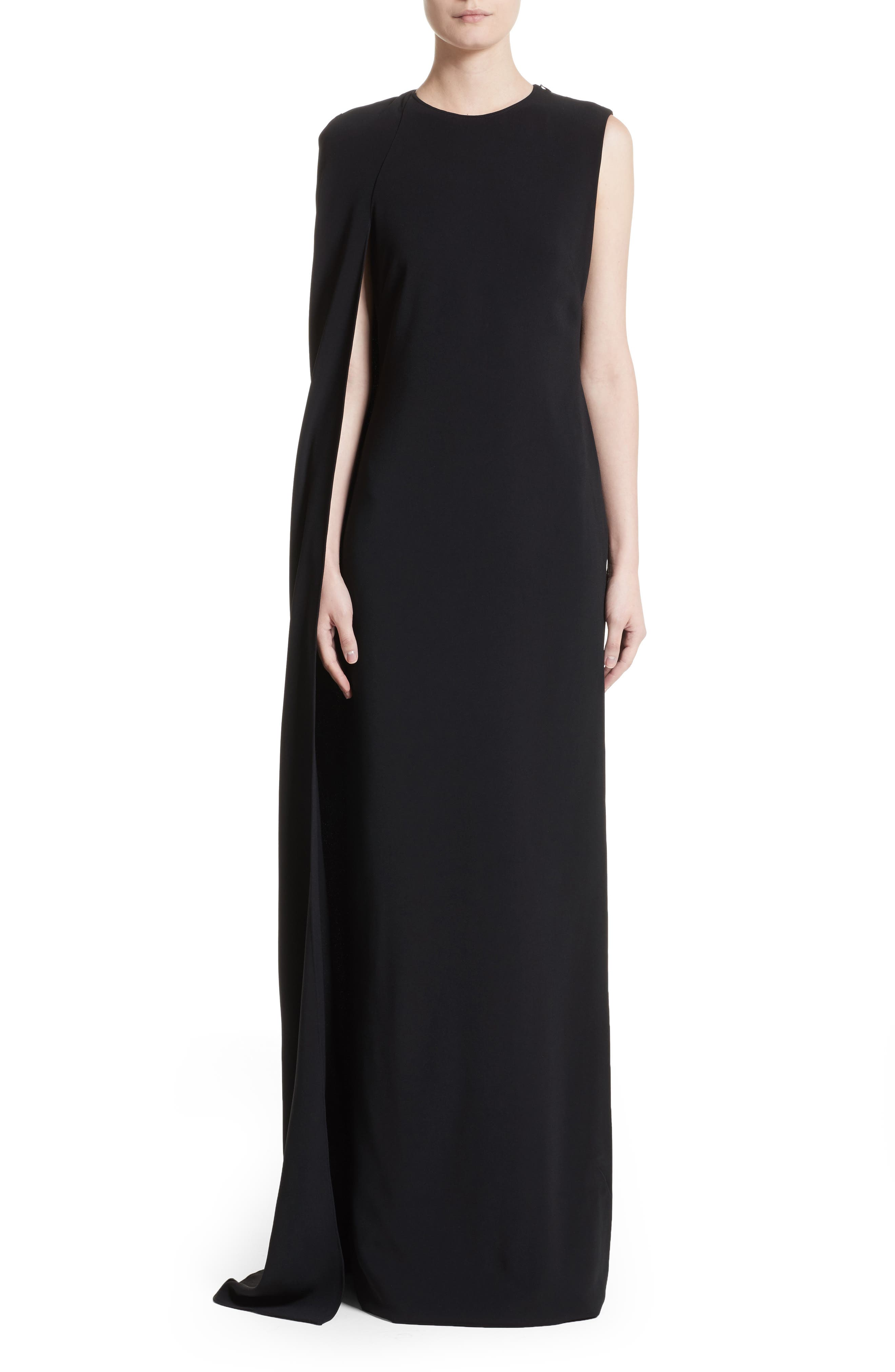 Stretch Cady One-Shoulder Cape Gown,                         Main,                         color, Black