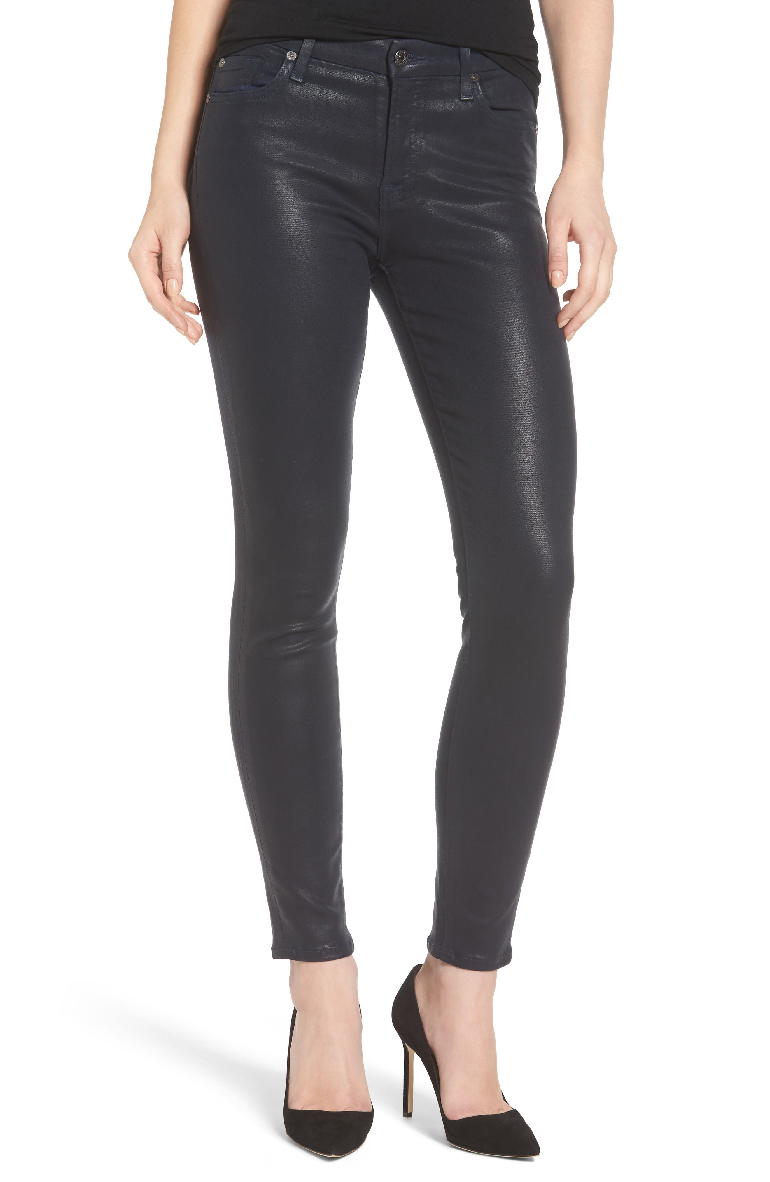 Coated Ankle Skinny Jeans,                         Main,                         color, Ink