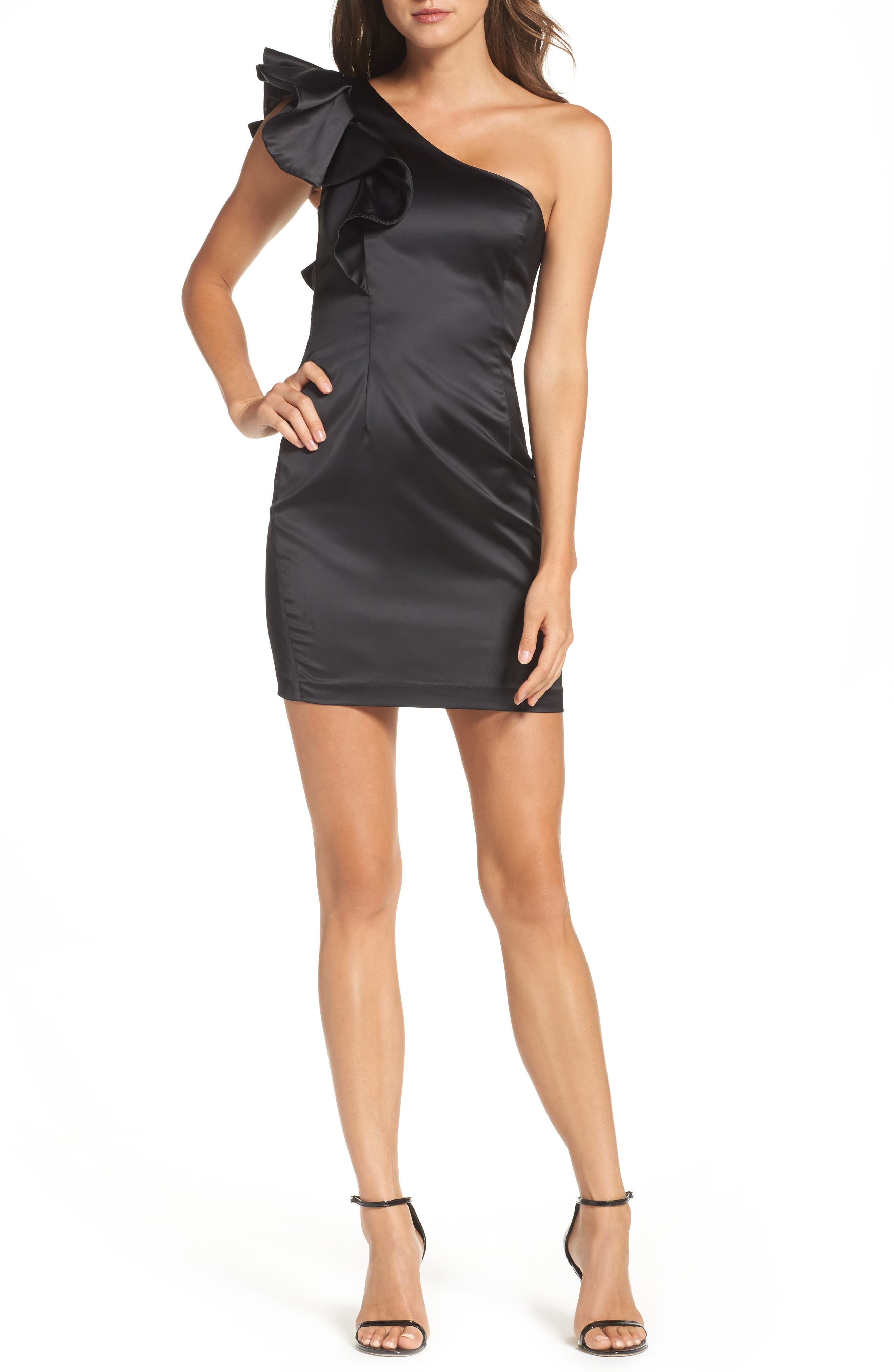 Estella Frill One-Shoulder Minidress,                         Main,                         color, Black