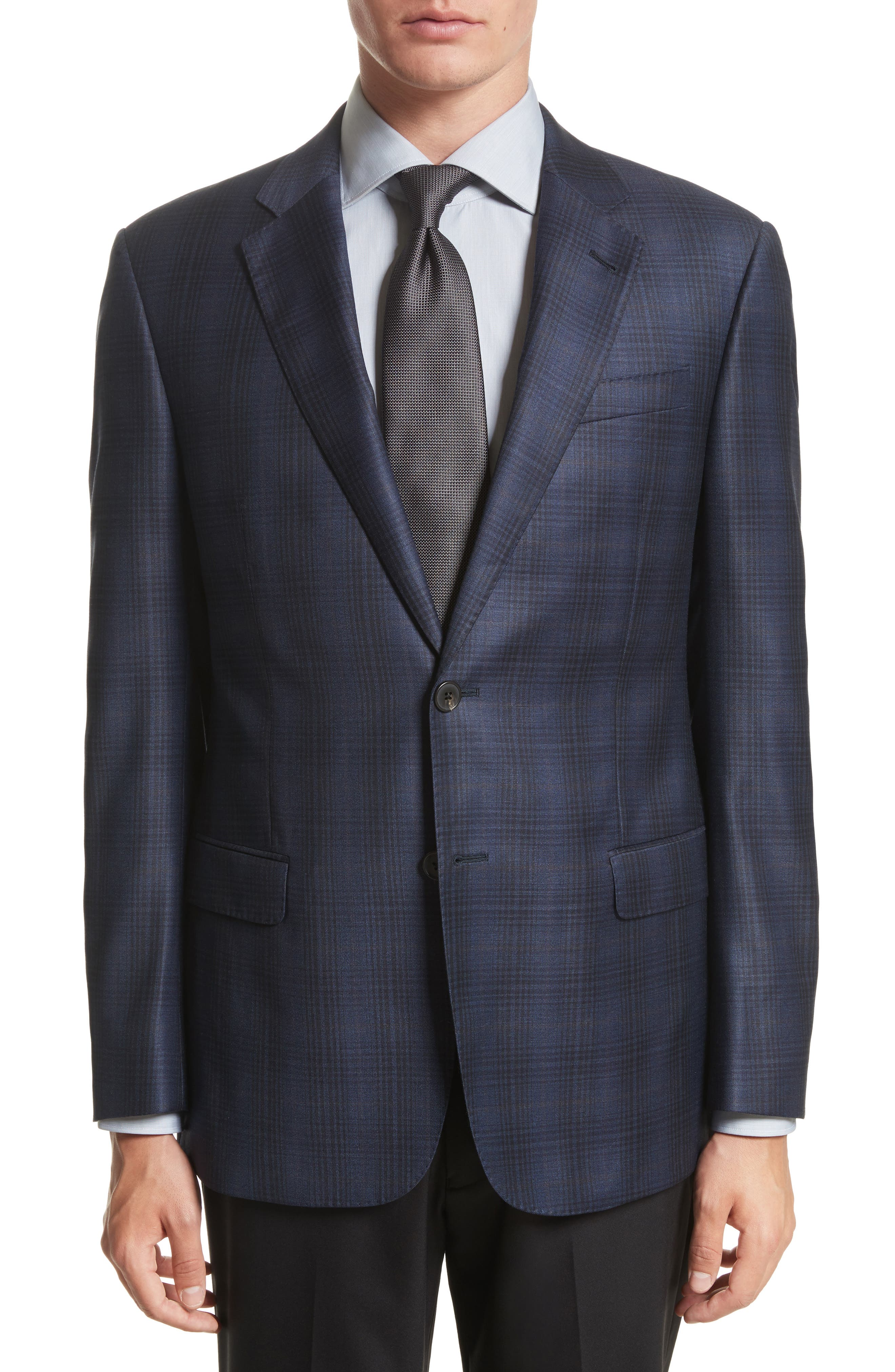 Armani Collezioni G-Line Trim Fit Plaid Wool Sport Coat