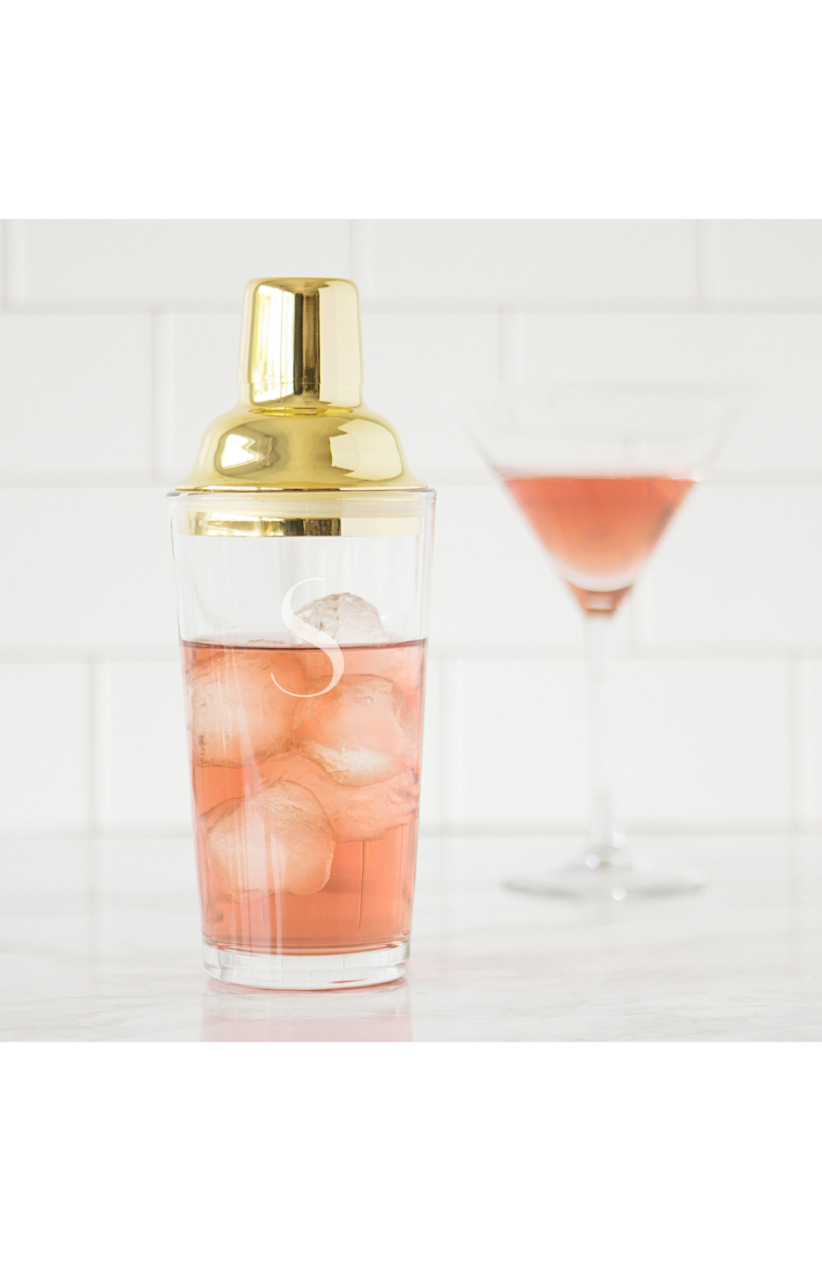 Alternate Image 3  - Cathy's Concepts Monogram Goldtone Cocktail Shaker