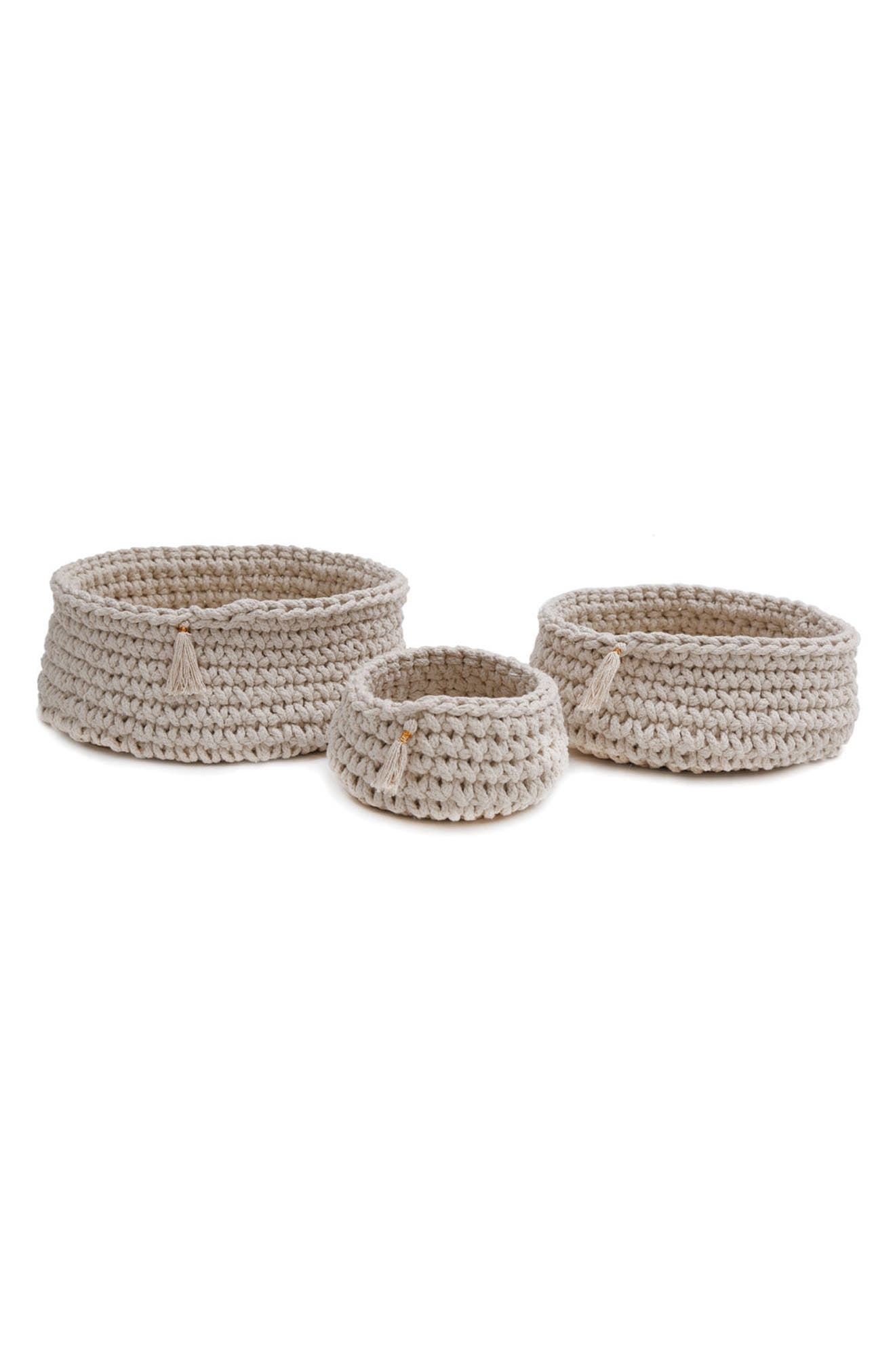 Baya Set of 3 Baskets,                         Main,                         color, Ivory
