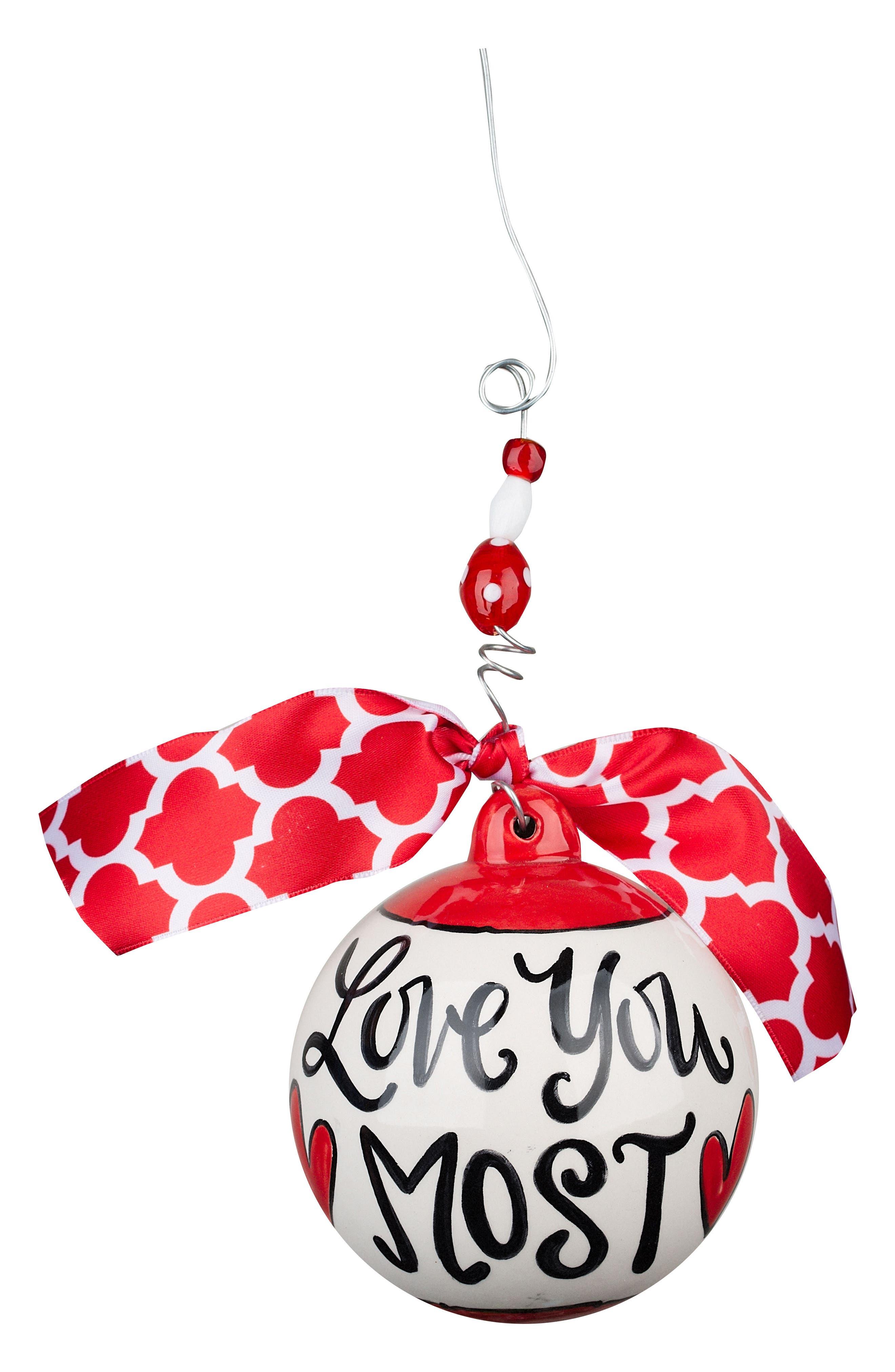 Love You Most Ball Ornament,                         Main,                         color, Red/ Multi