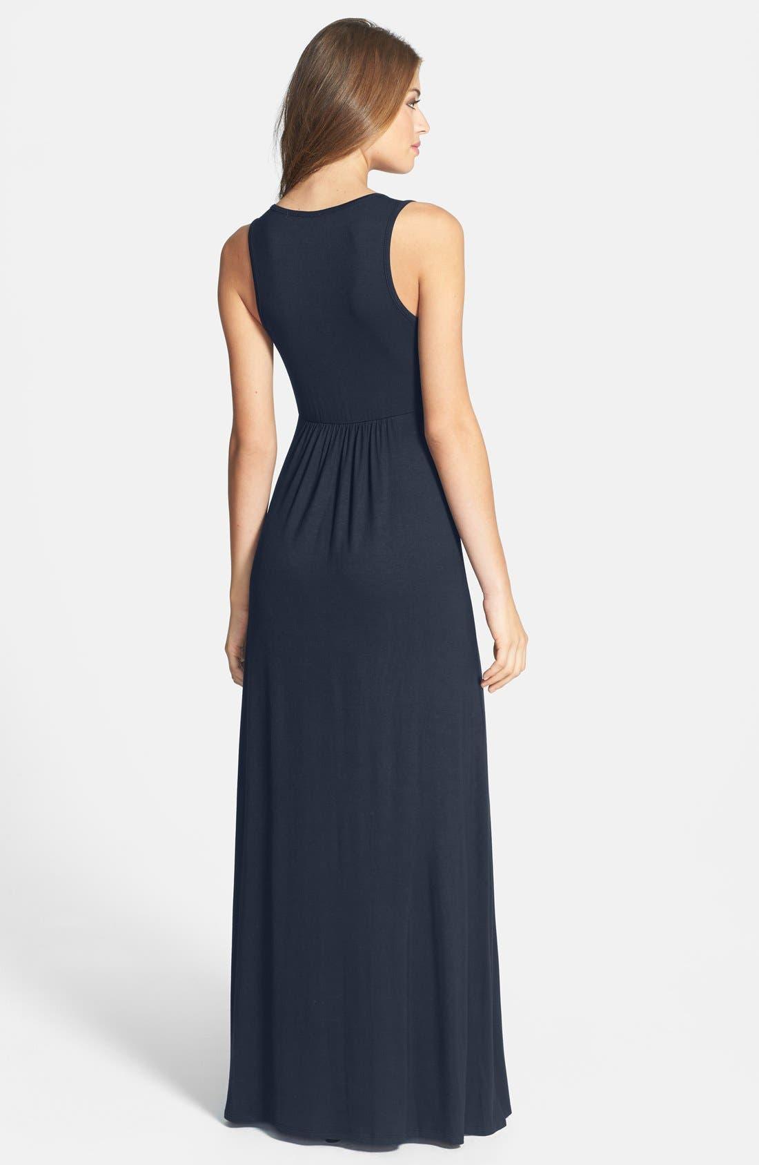 Alternate Image 2  - Loveappella V-Neck Jersey Maxi Dress (Regular & Petite)