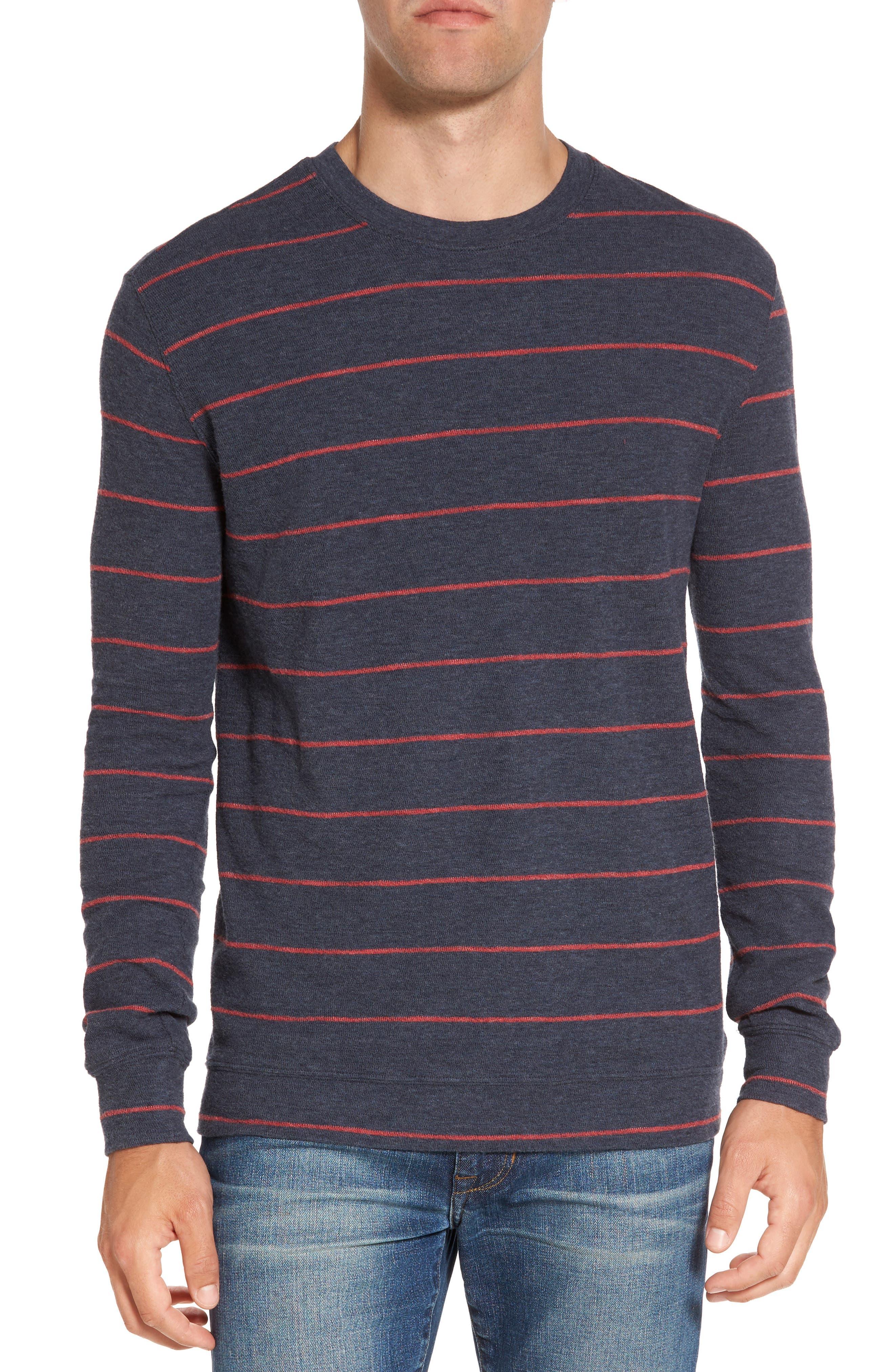 Baird Stripe Crewneck Sweatshirt,                             Main thumbnail 1, color,                             Navy / Red