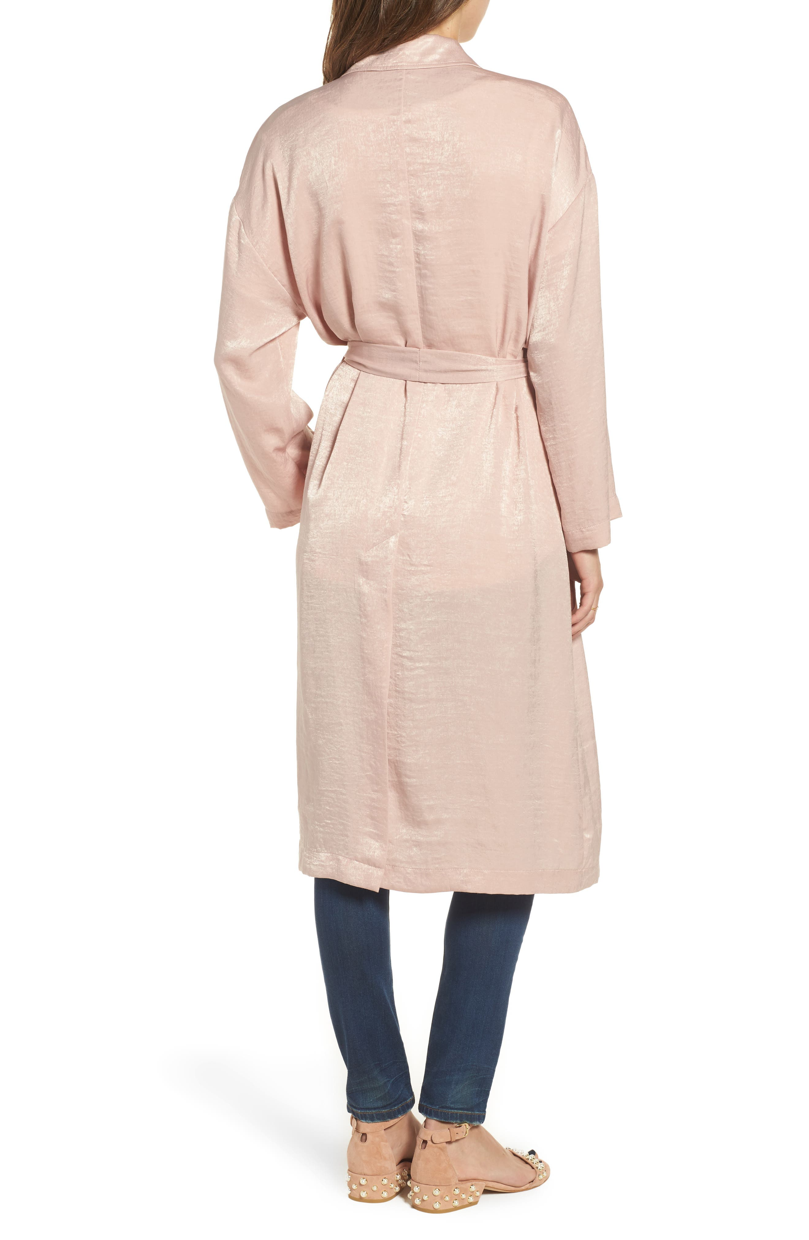 Satin Trench Coat,                             Alternate thumbnail 2, color,                             Pink Adobe