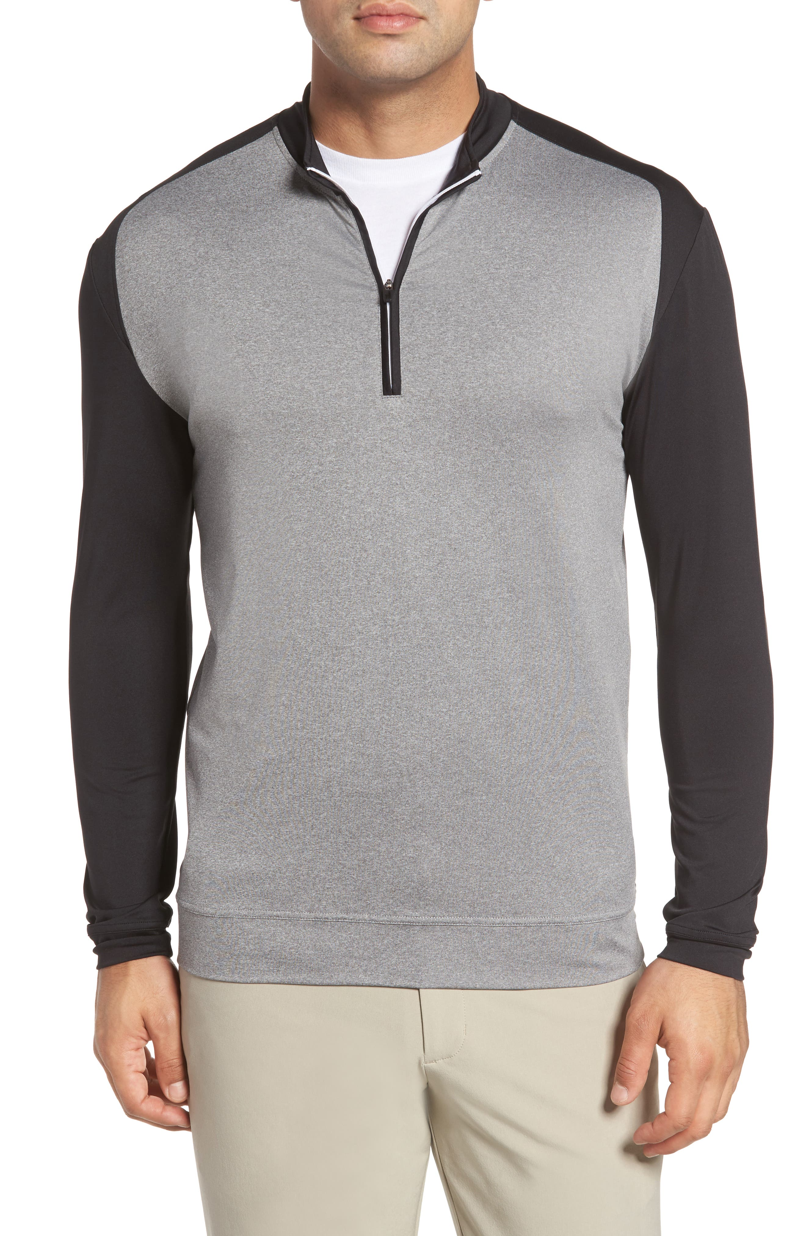 Sway Classic Fit Zip Raglan Pullover,                         Main,                         color, Black