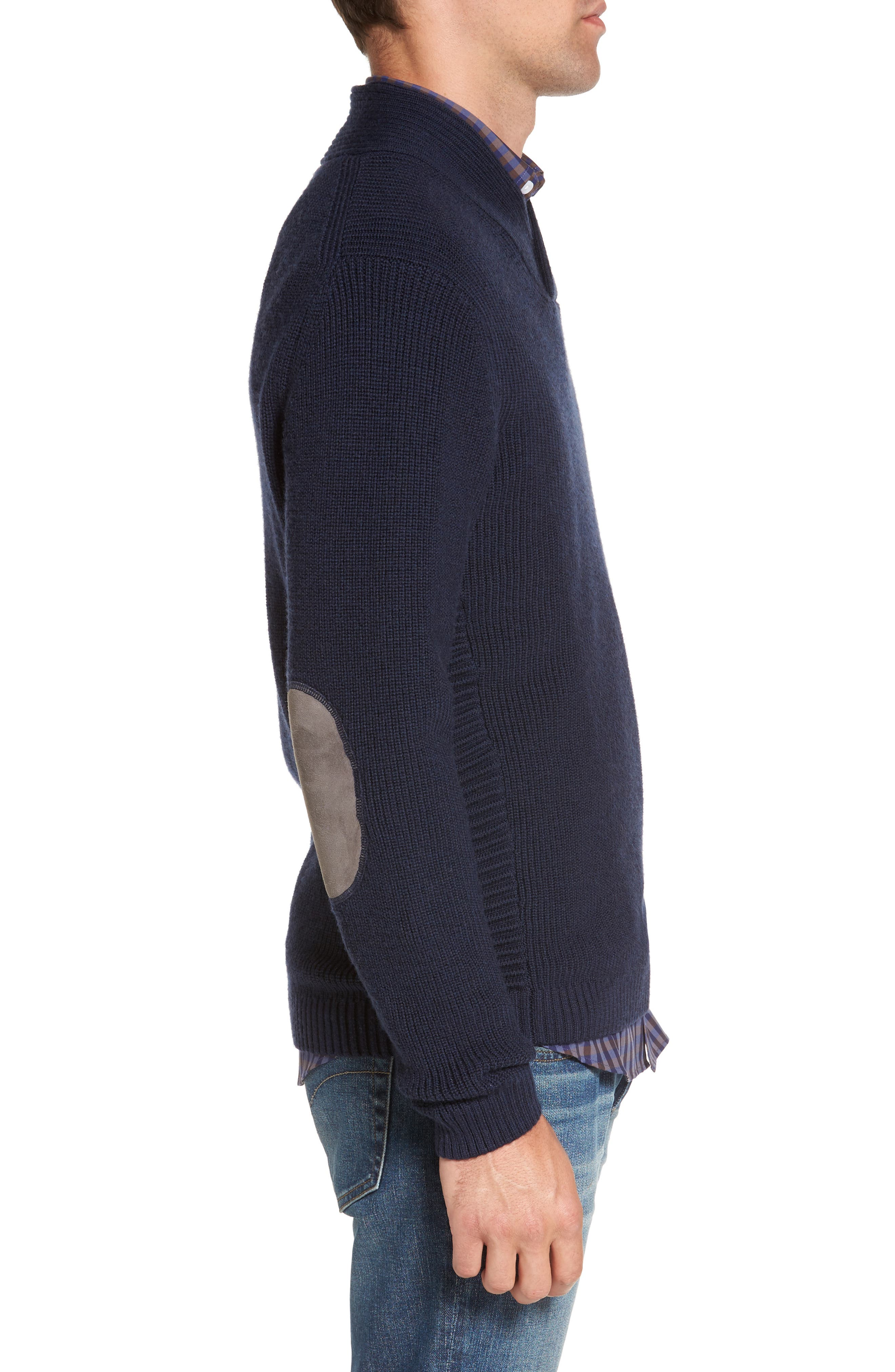 Charlesworth Suede Patch Merino Wool Sweater,                             Alternate thumbnail 3, color,                             Marine