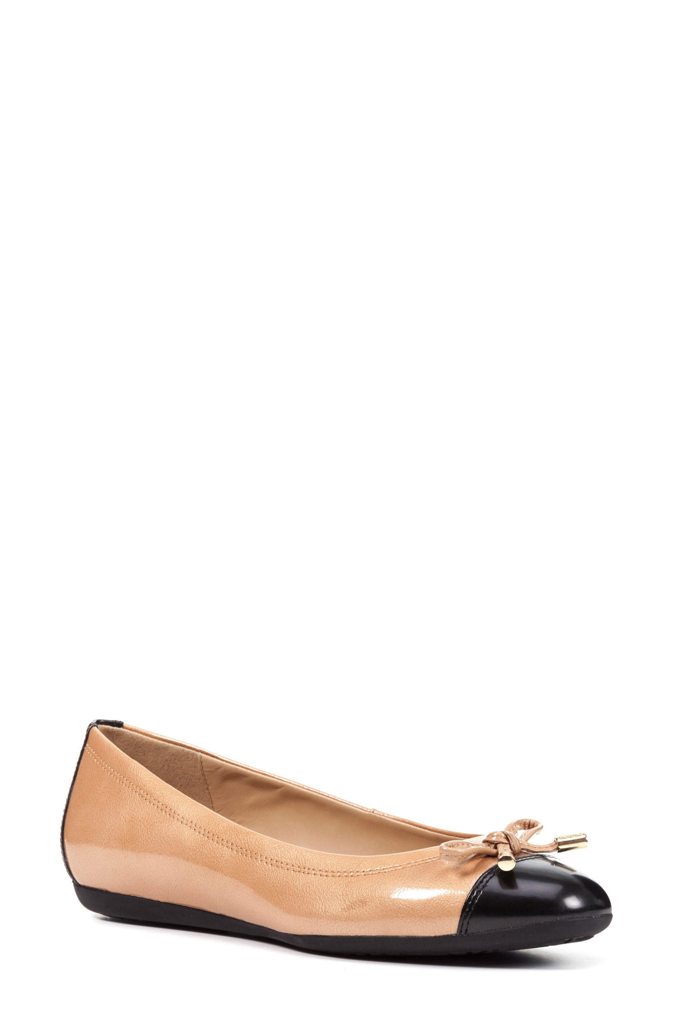 Lola Water Resistant Flat,                         Main,                         color, Camel Leather