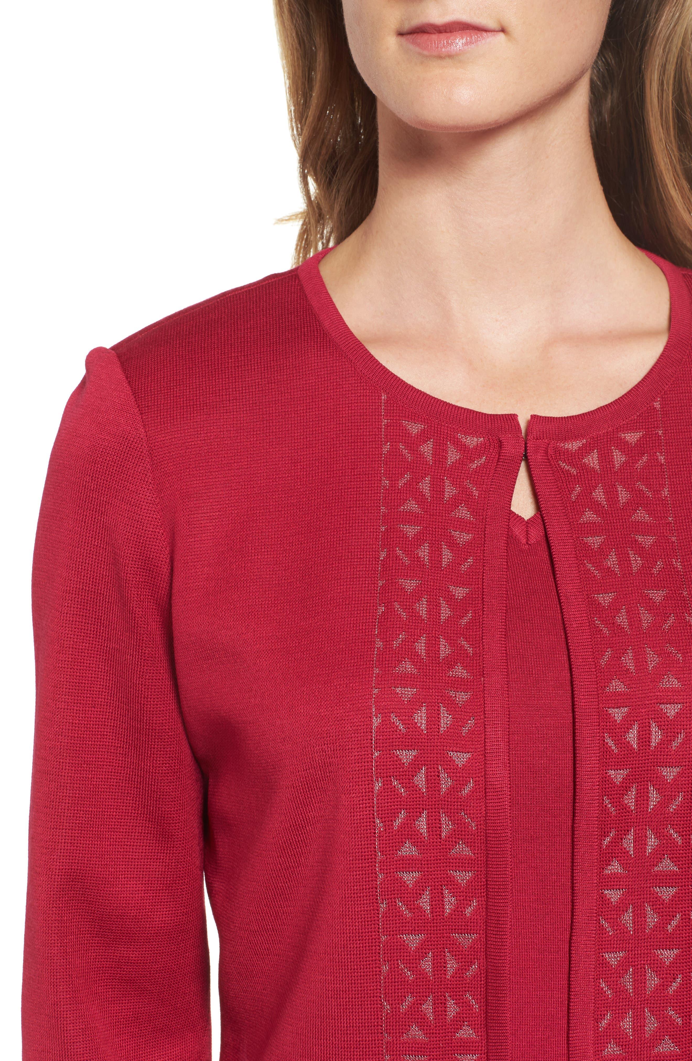 Geometric Border Jacket,                             Alternate thumbnail 4, color,                             Charged Pink