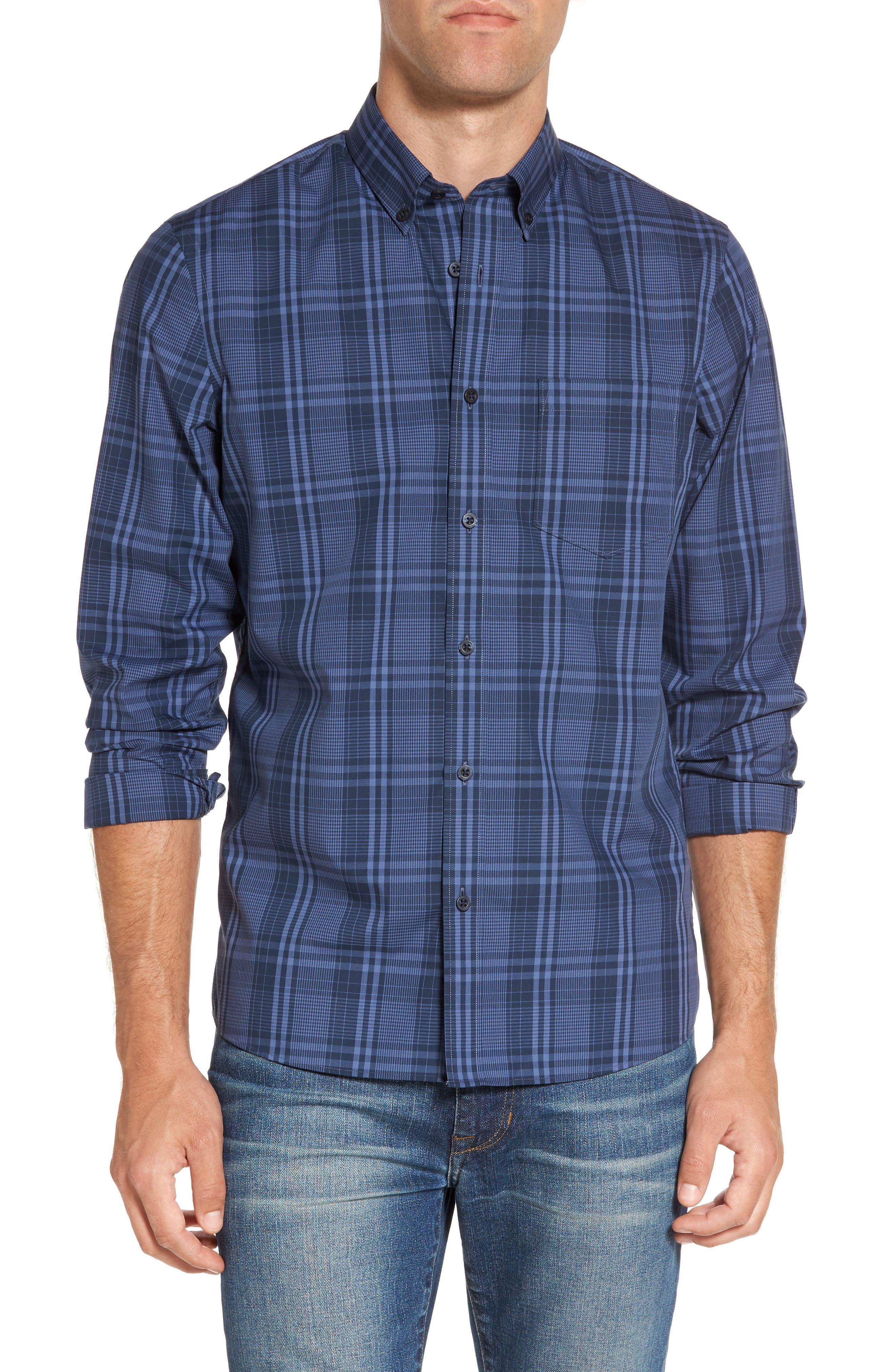 Slim Fit Plaid Sport Shirt,                         Main,                         color, Navy Iris Blue Plaid