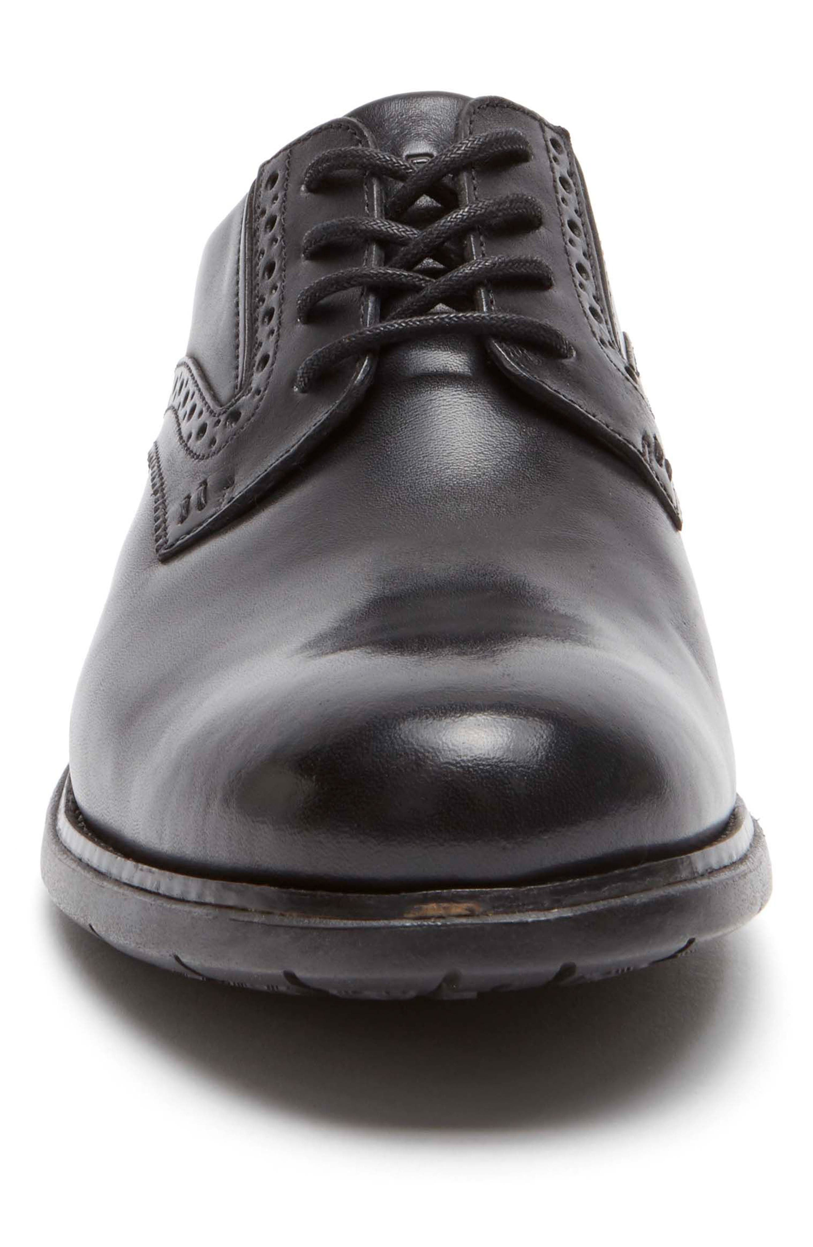 Total Motion Classic Dress Plain Toe Derby,                             Alternate thumbnail 4, color,                             Black Leather