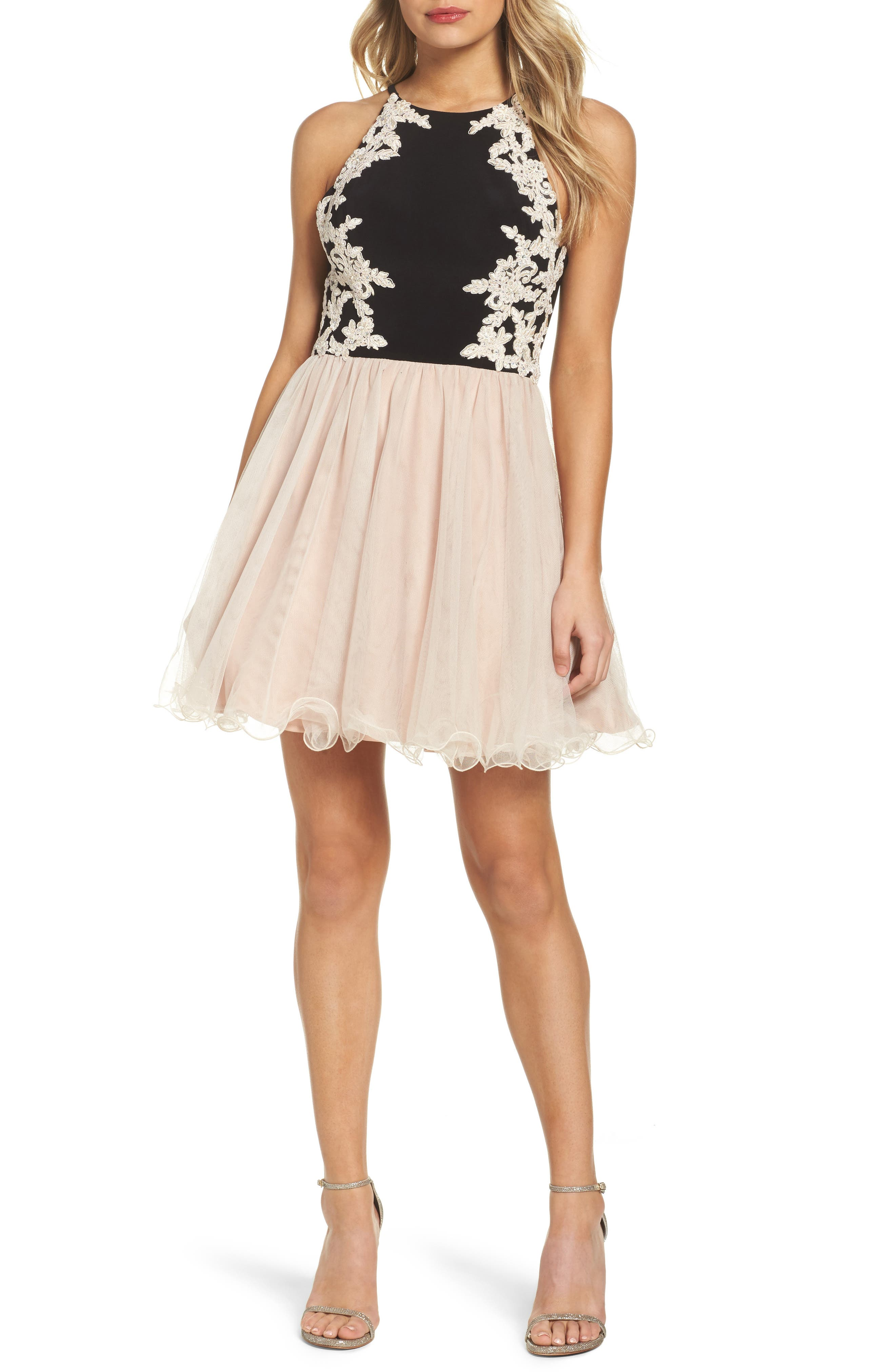 Appliqué Fit & Flare Dress,                         Main,                         color, Black/ Champagne