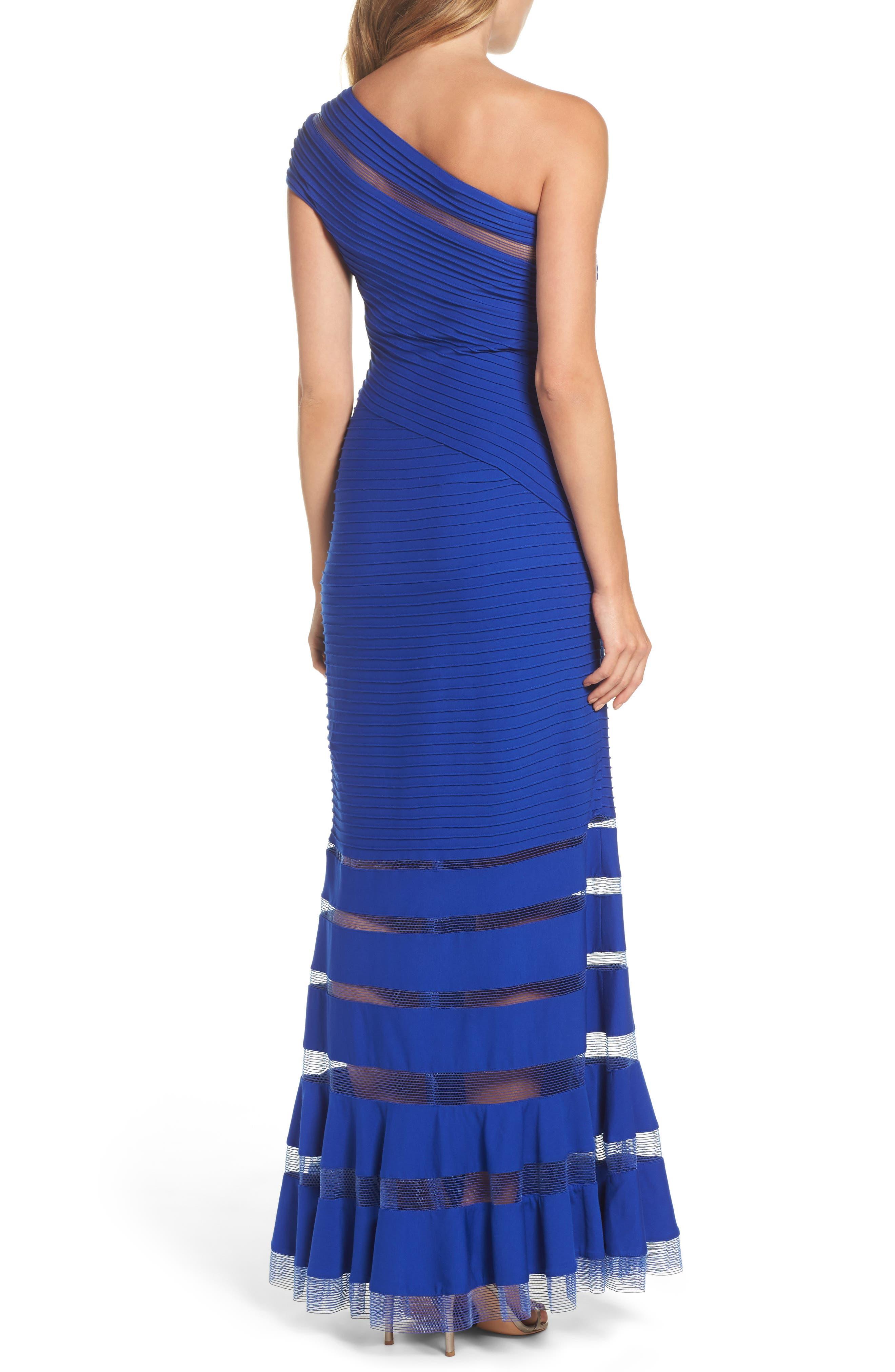 One Shoulder Illusion Gown,                             Alternate thumbnail 2, color,                             Mystic Blue