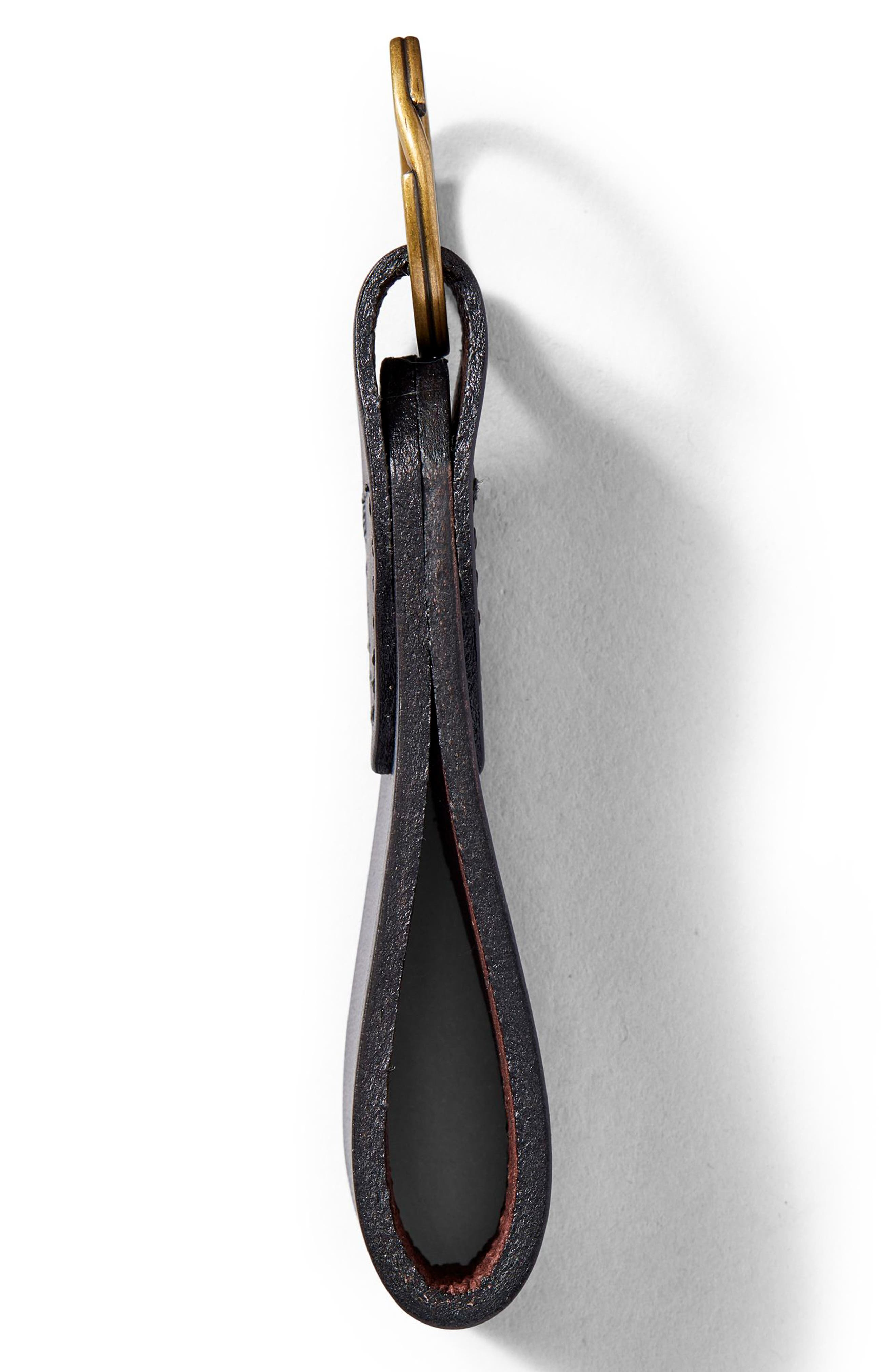 Leather Key Chain,                             Alternate thumbnail 2, color,                             Brown