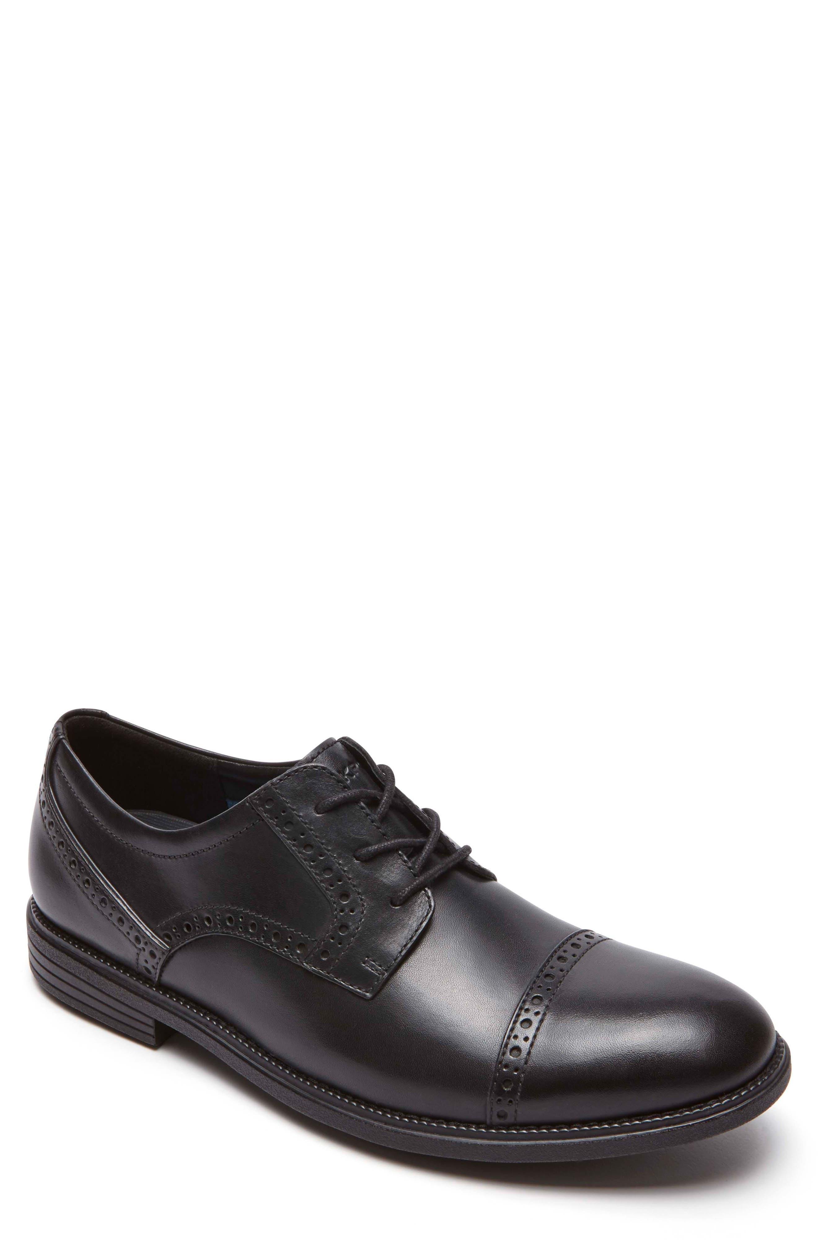 Madson Cap Toe Derby,                         Main,                         color, Black Leather