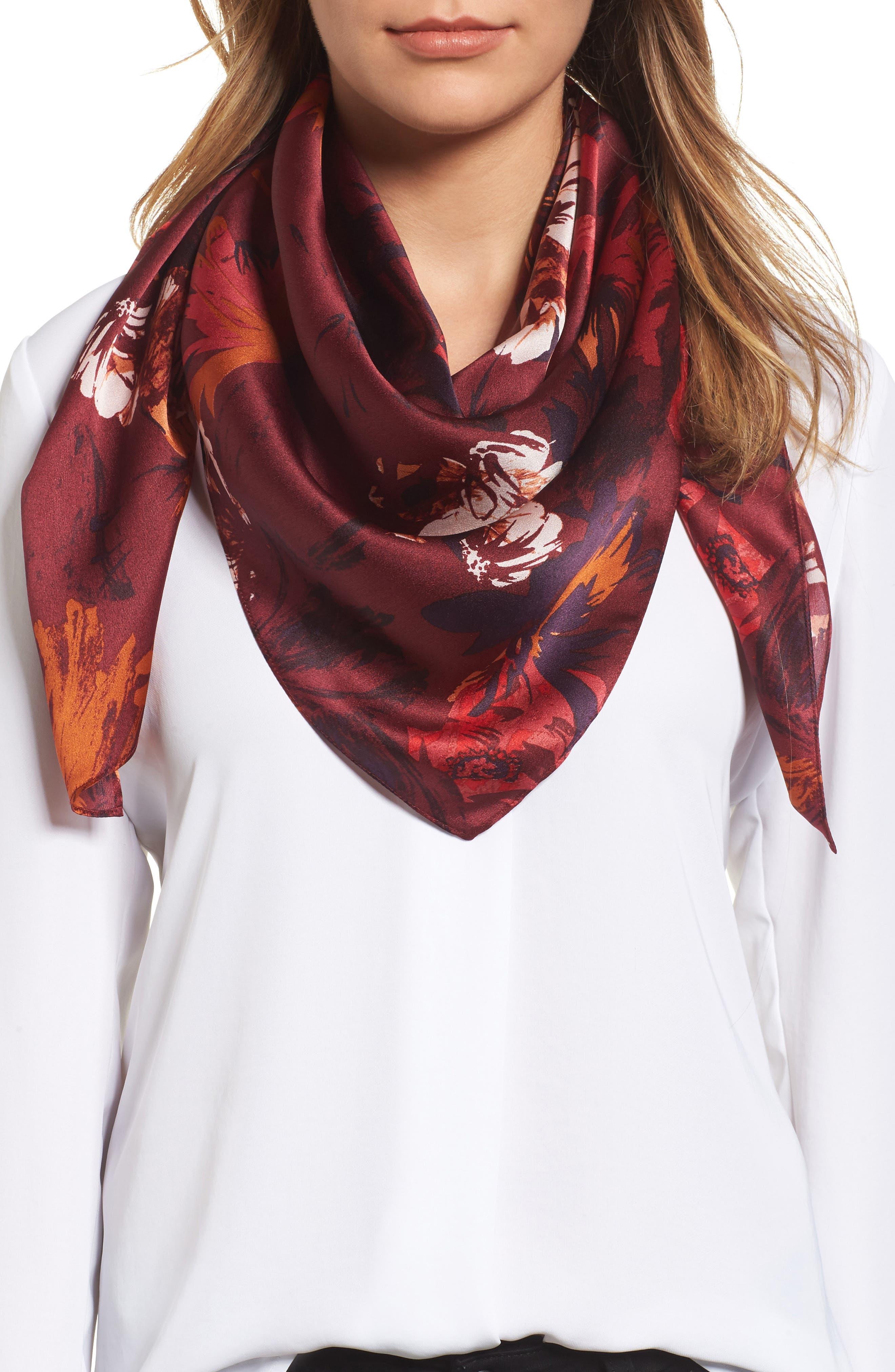 Main Image - Halogen® Floral Print Silk Scarf