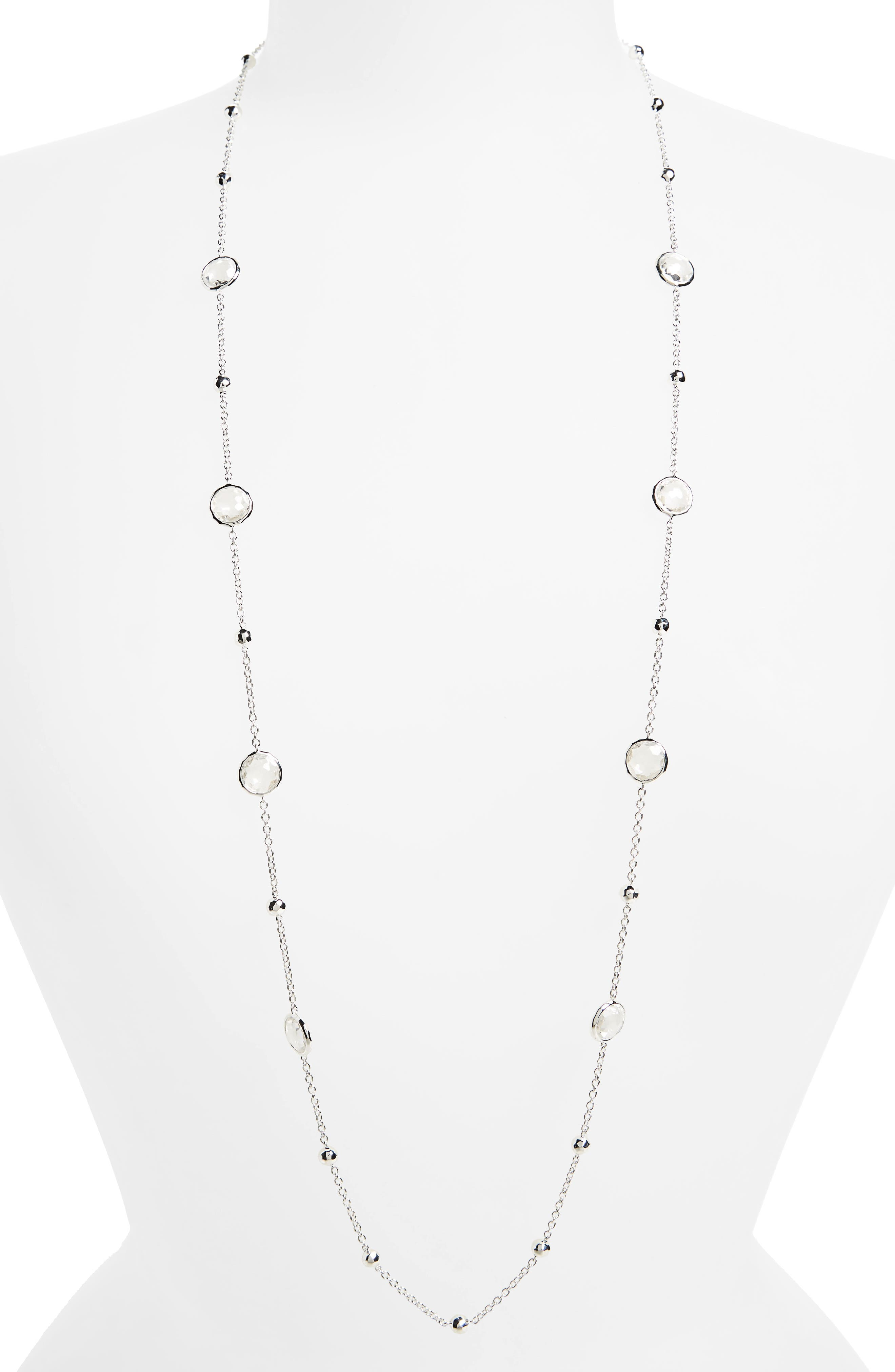 'Rock Candy - Mini Lollipop' Long Necklace,                             Main thumbnail 1, color,                             Silver- Clear Quartz