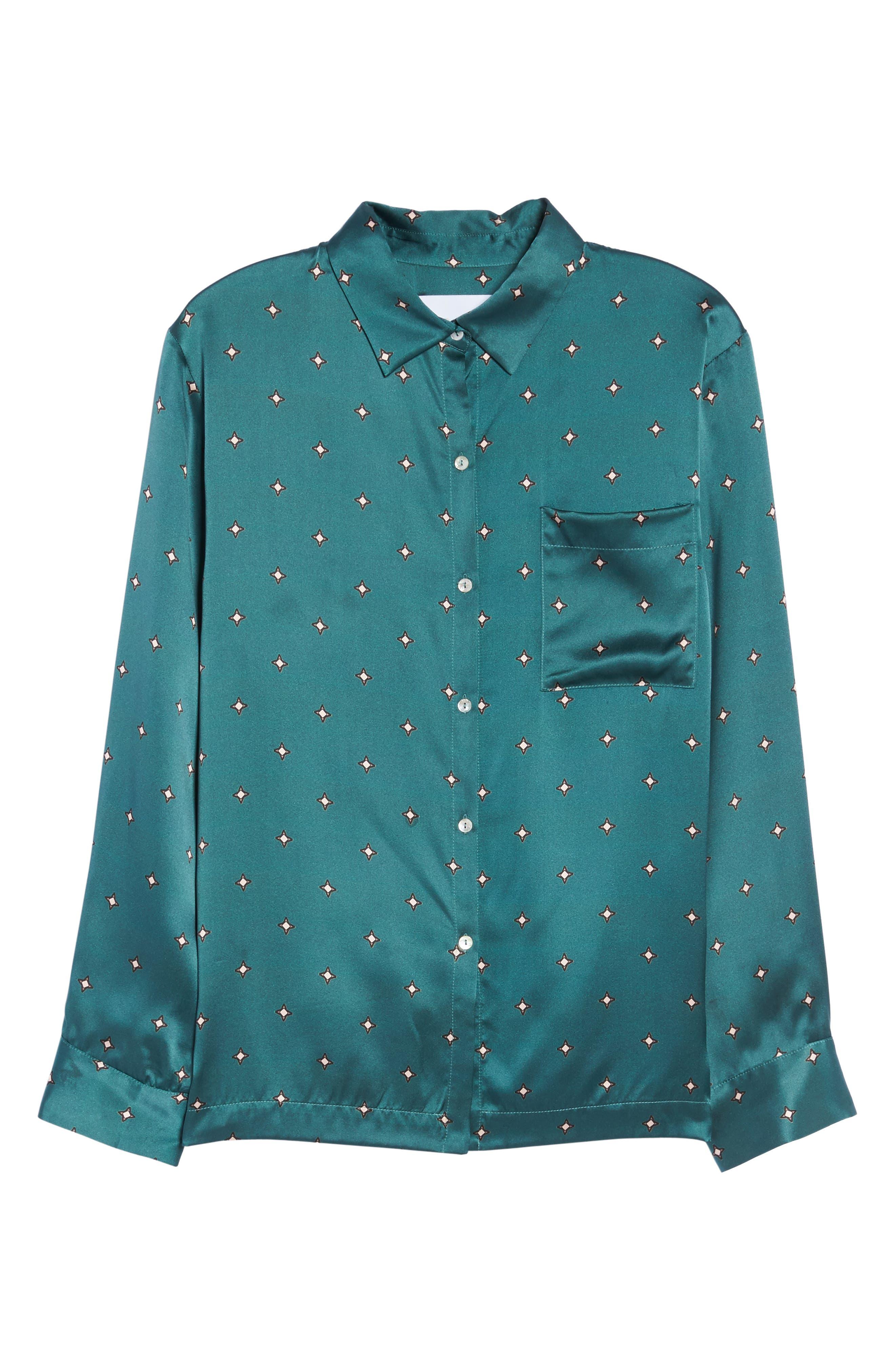 Print Silk Pajama Top,                             Alternate thumbnail 4, color,                             Jade Star