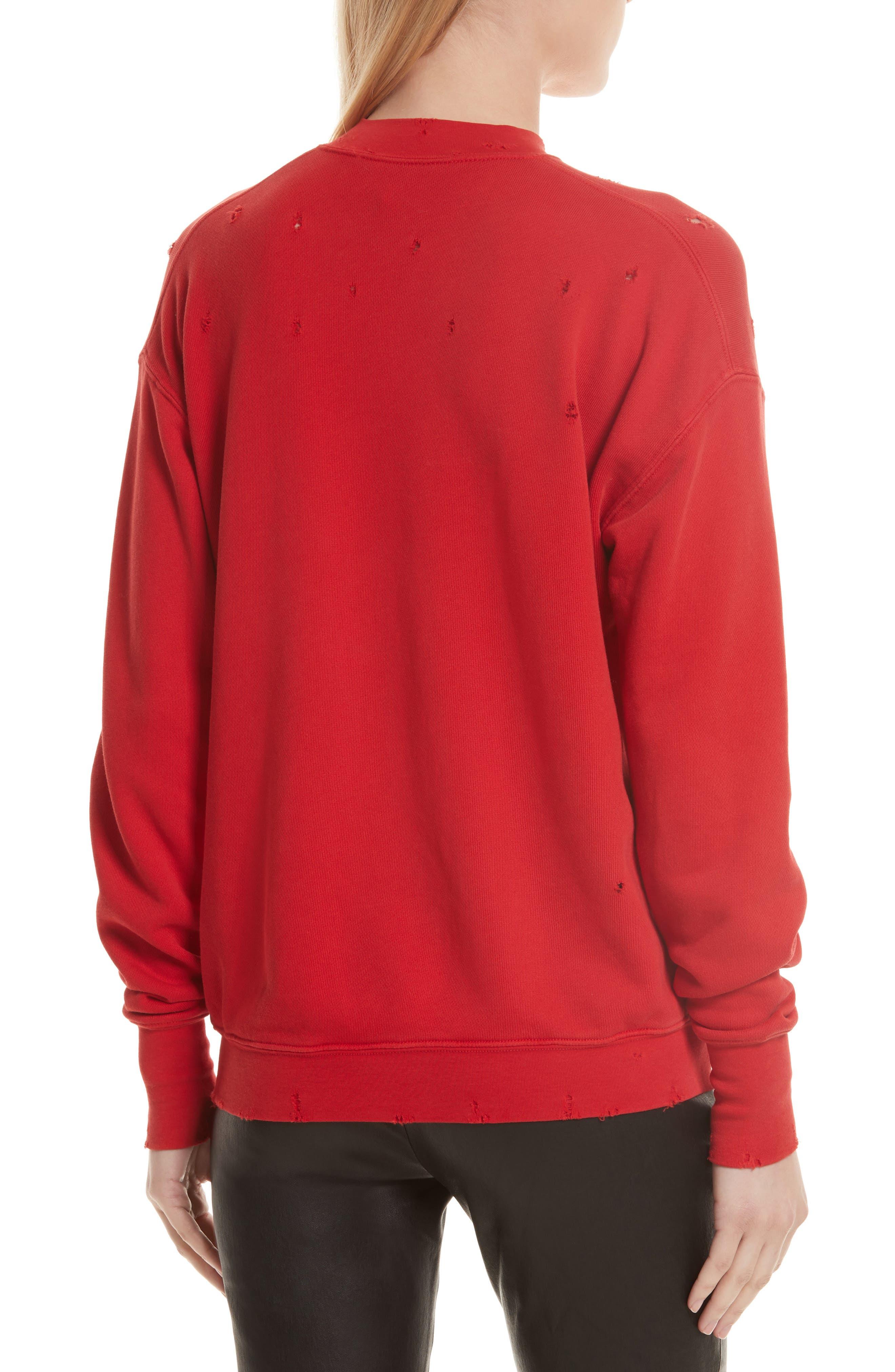 Slash Neck Destroyed Sweatshirt,                             Alternate thumbnail 2, color,                             Amaryllis