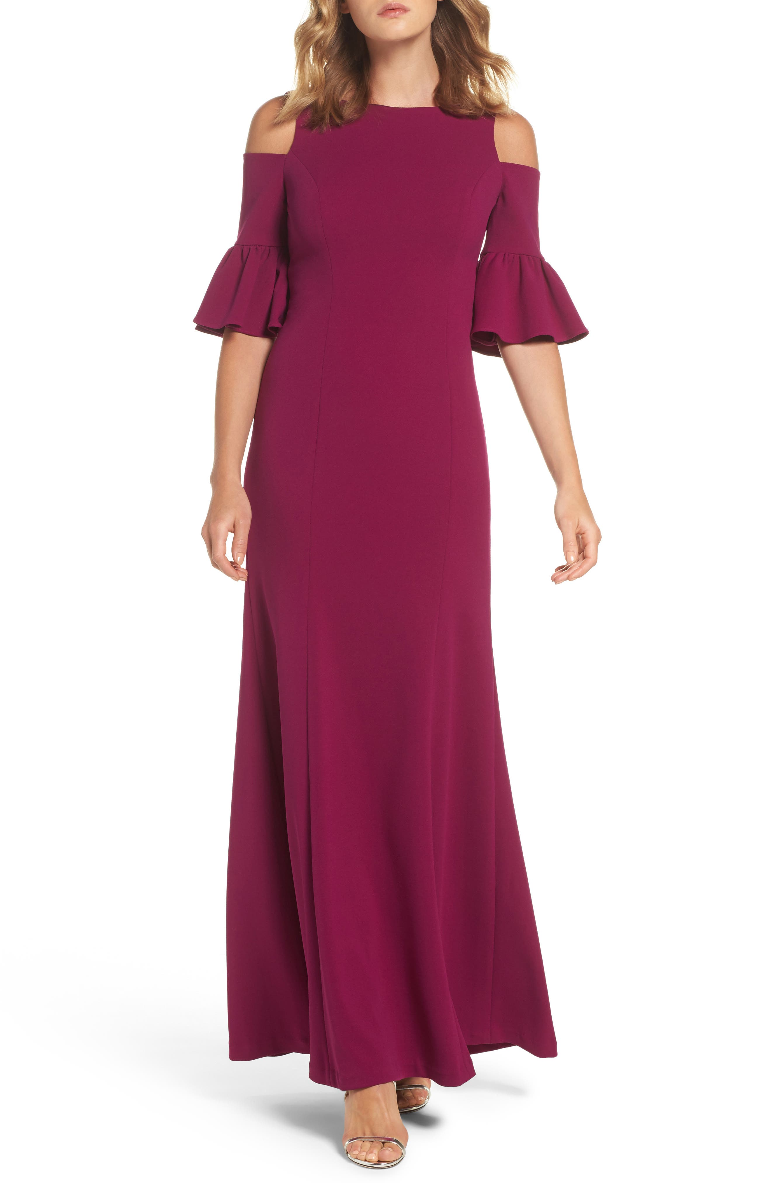 Cold Shoulder Gown,                         Main,                         color, Mulberry