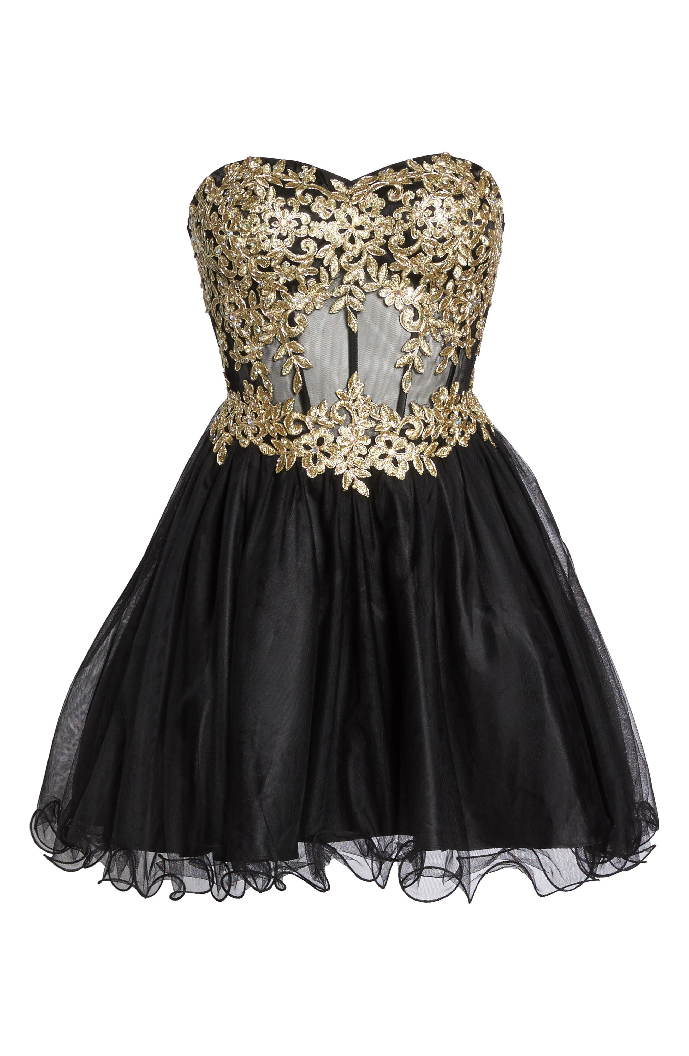 Appliqué Strapless Fit & Flare Dress,                             Alternate thumbnail 6, color,                             Black/ Gold