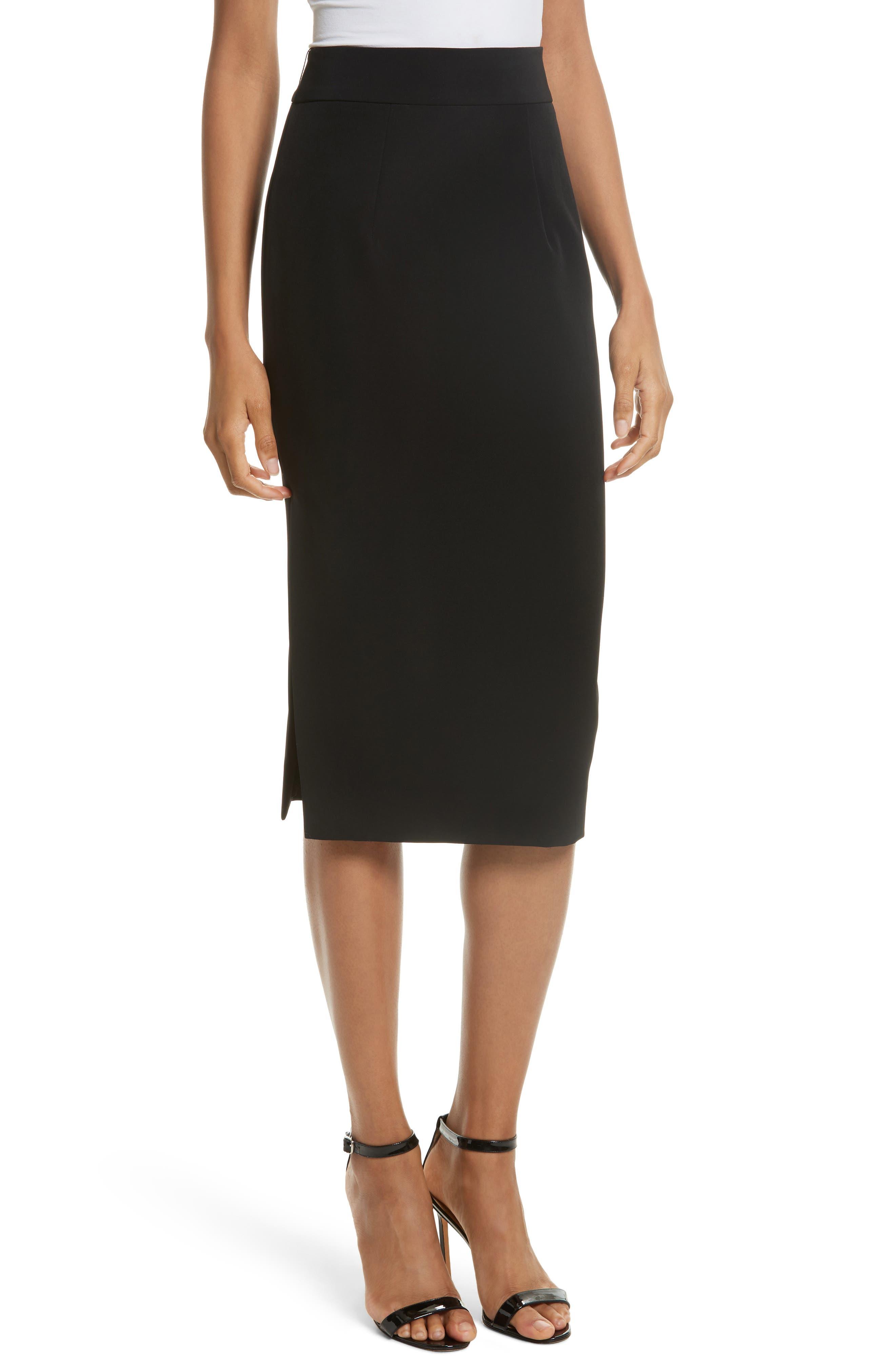 Italian Cady Side Slit Skirt,                             Main thumbnail 1, color,                             Black