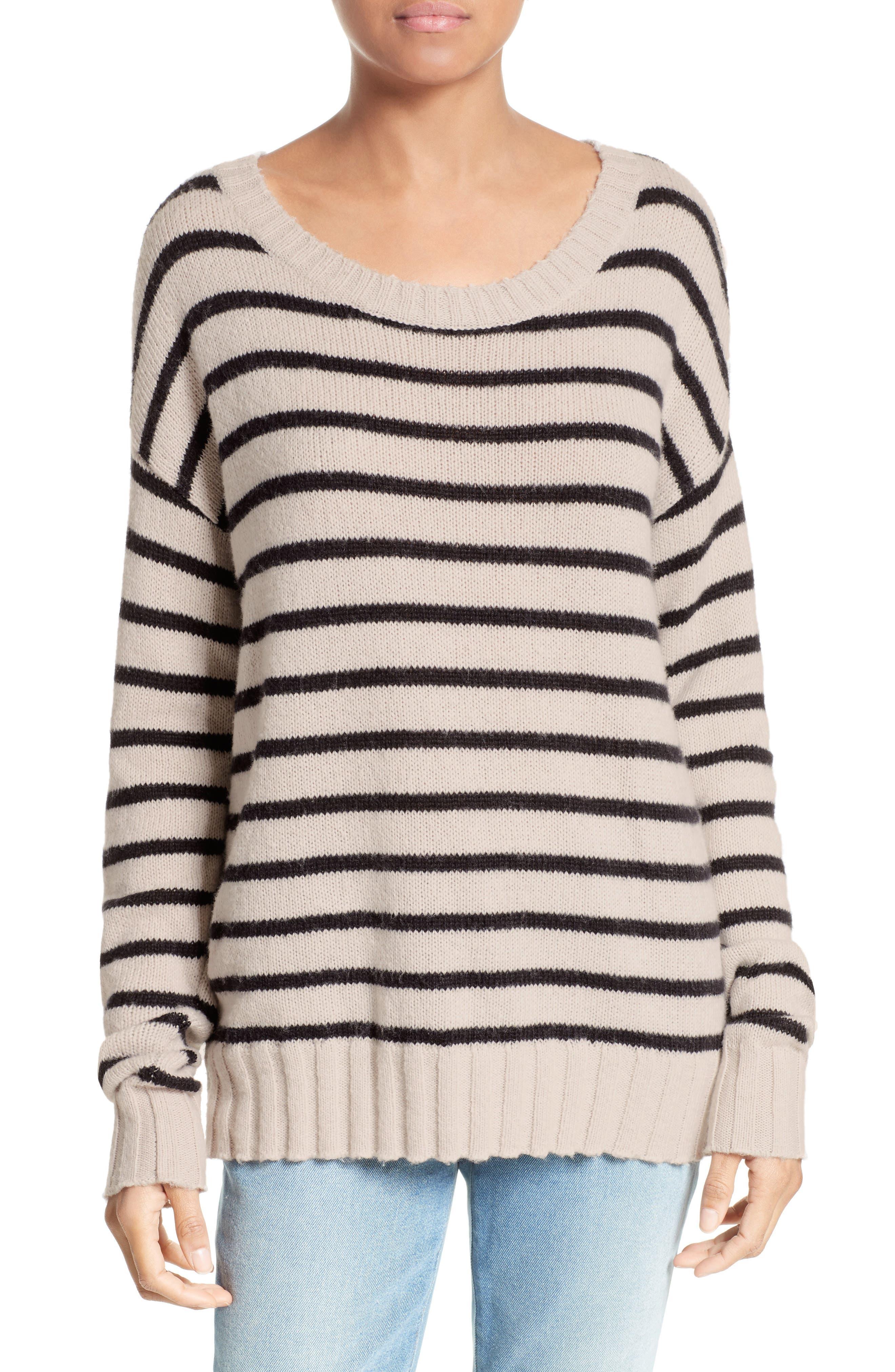 Rowan Stripe Cotton Blend Sweater,                         Main,                         color, Beige/ Black