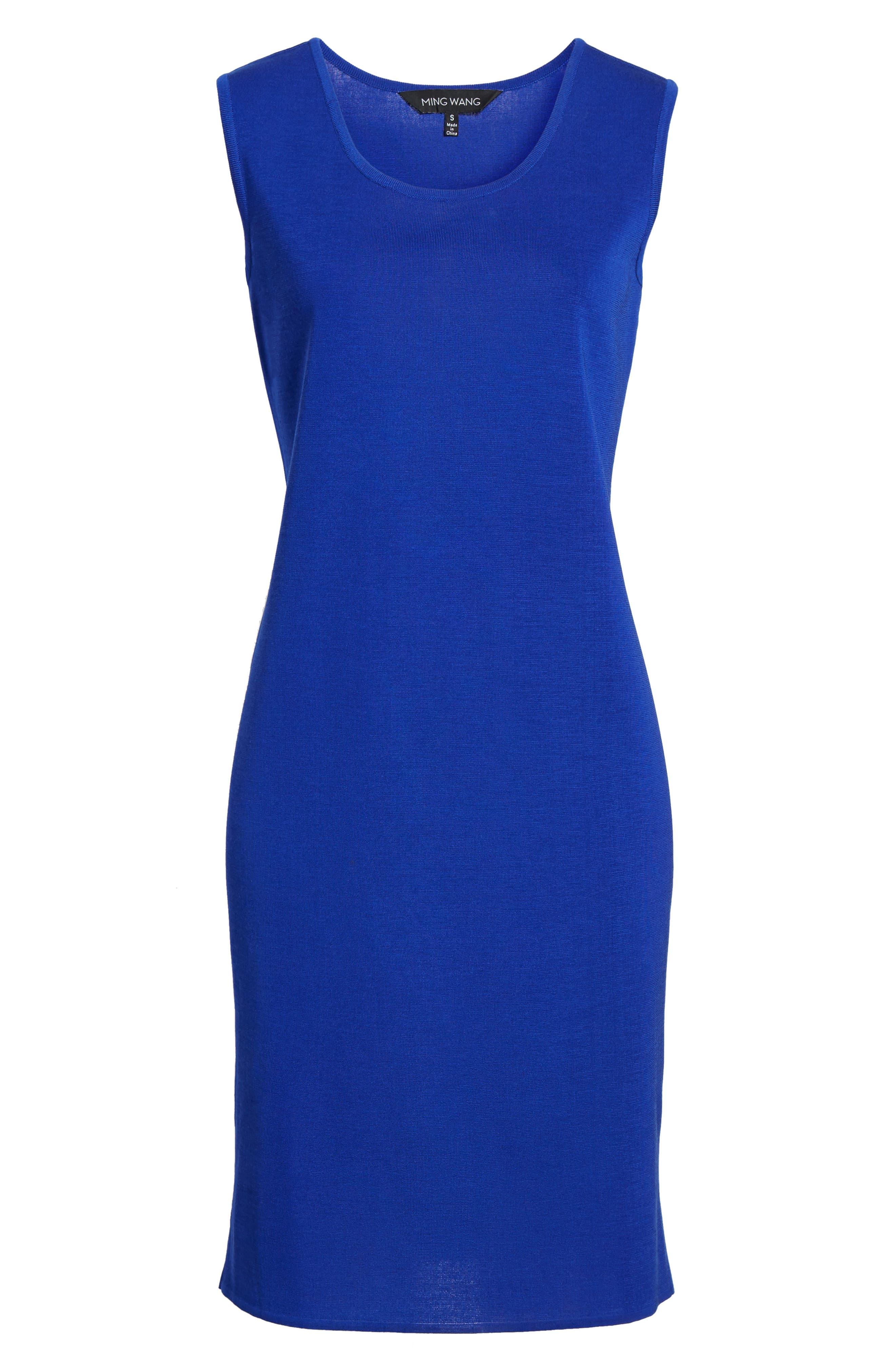Knit Sheath Dress,                             Alternate thumbnail 7, color,                             Blue Flame