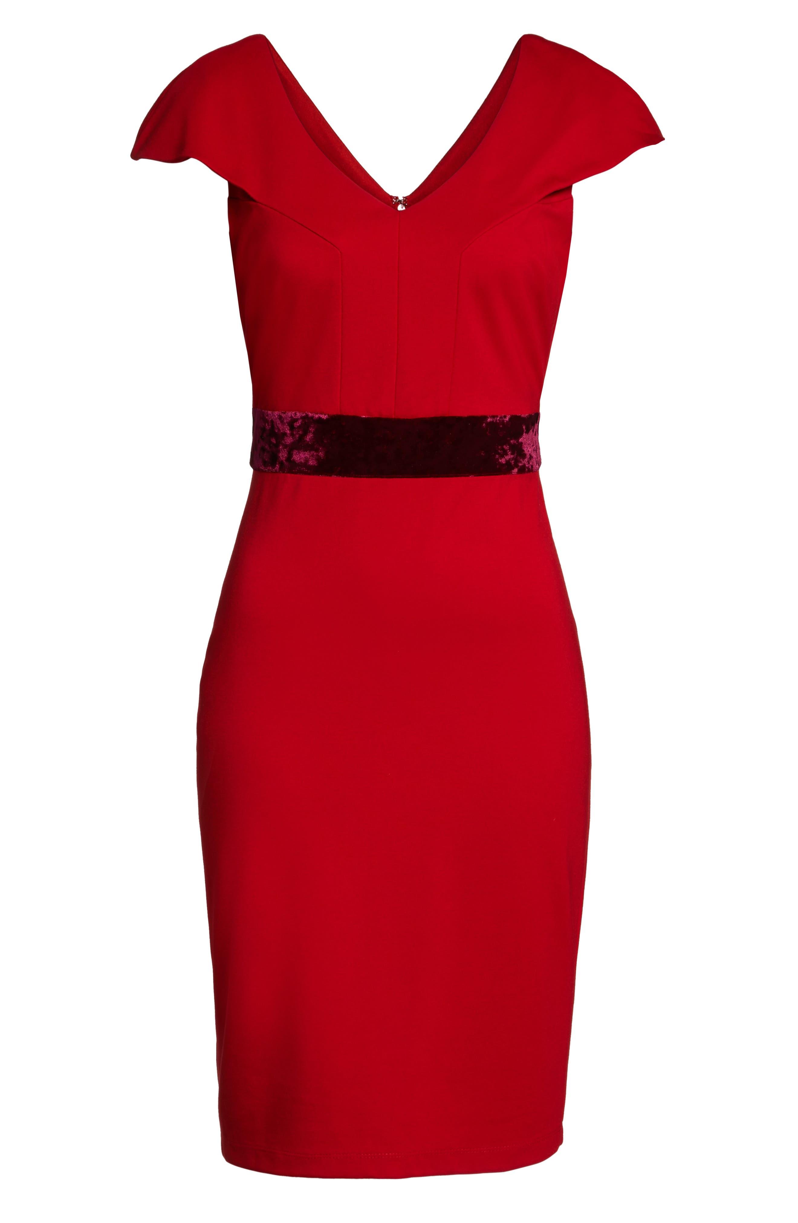 Velvet Trim Crepe Sheath Dress,                             Alternate thumbnail 6, color,                             Scarlet