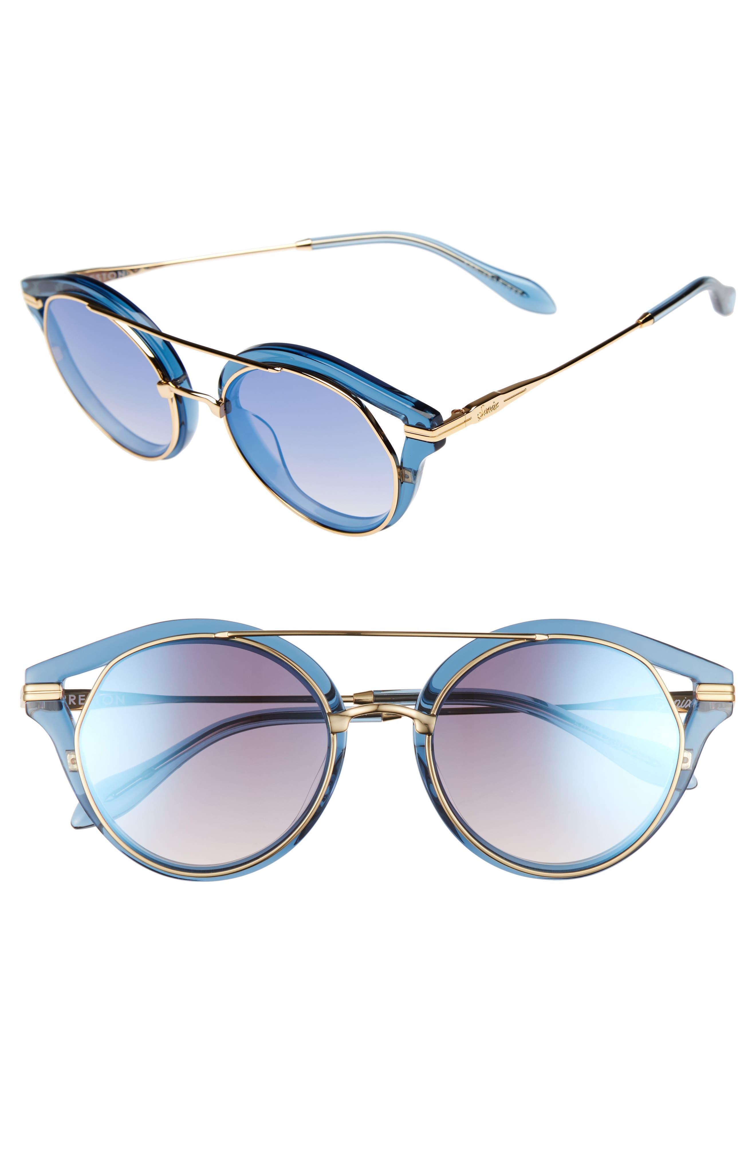 Preston 51mm Gradient Round Sunglasses,                         Main,                         color, Blue Clear/ Indigo Mirror