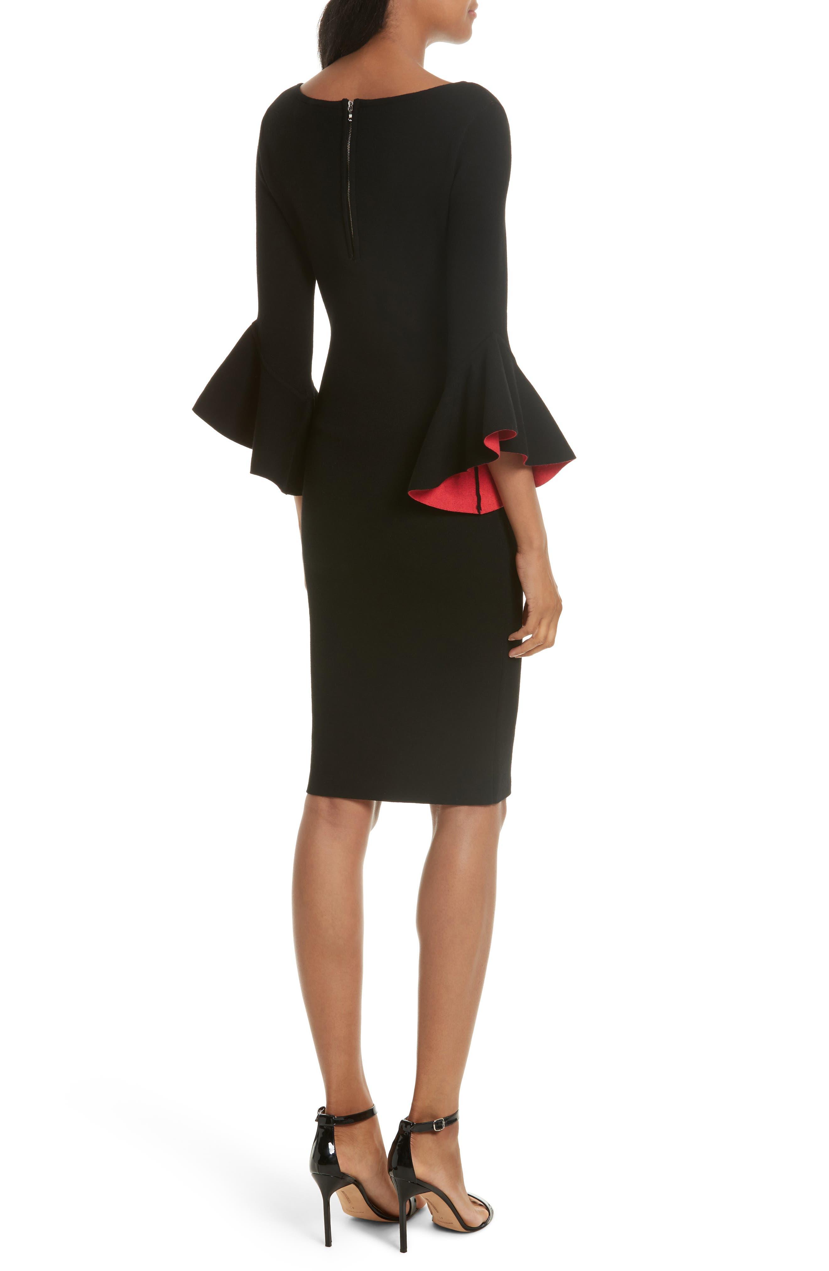 Contrast Lined Bell Sleeve Sheath Dress,                             Alternate thumbnail 2, color,                             Black/ Cherry
