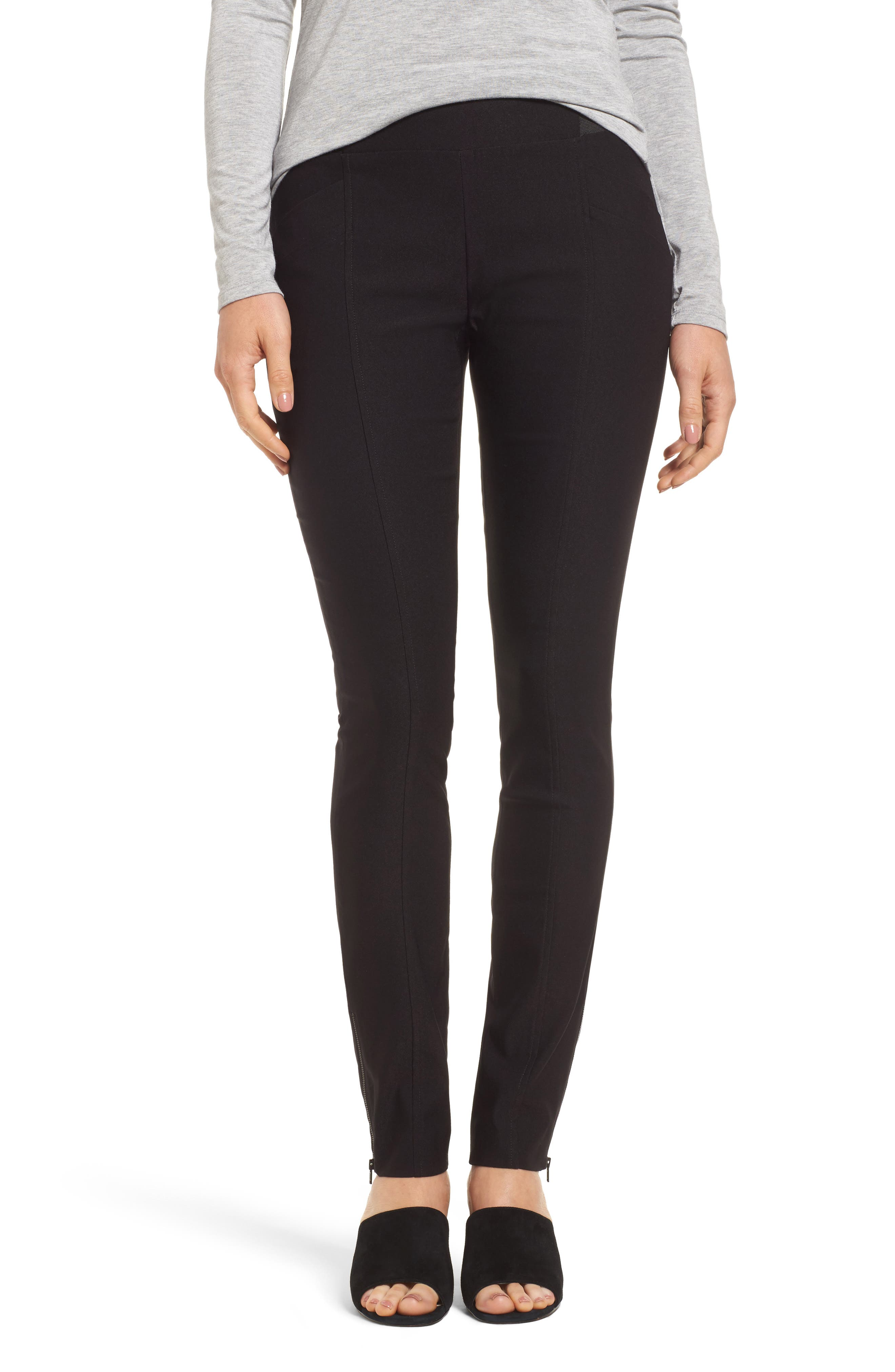 Zip Ankle Wonder Stretch Pants,                         Main,                         color, Black Onyx
