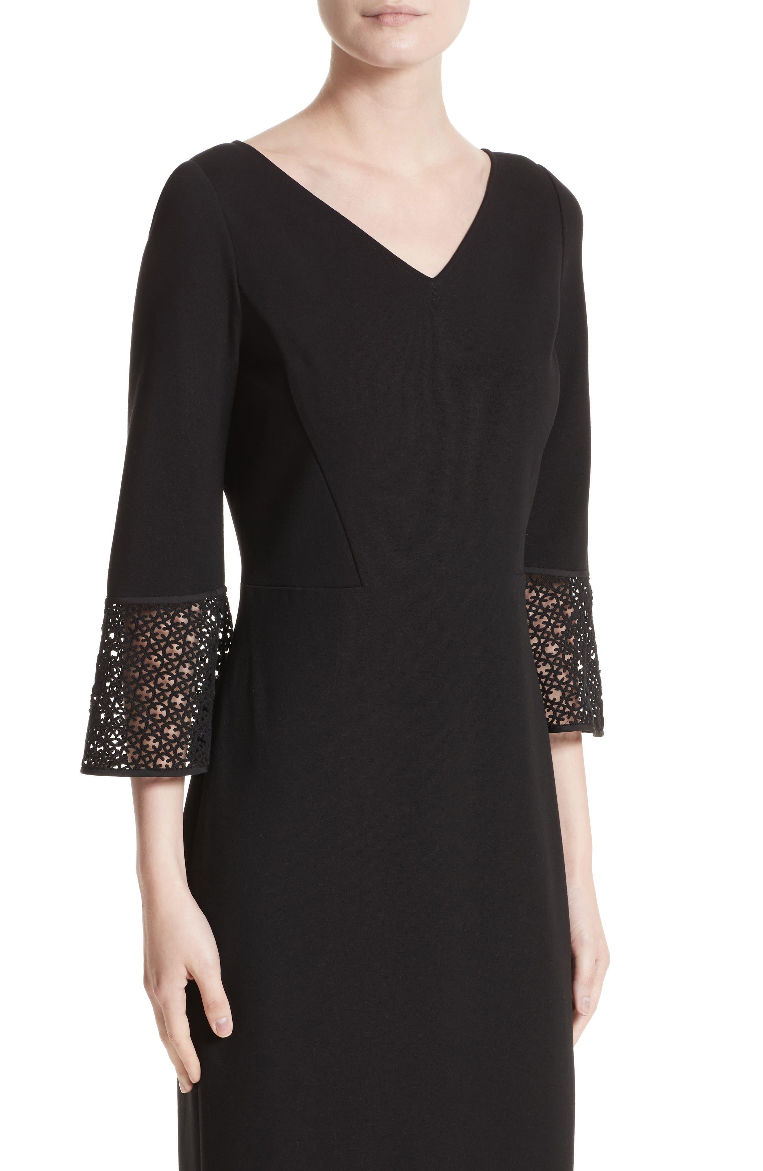 Lace Trim Sheath Dress,                             Alternate thumbnail 4, color,                             Black