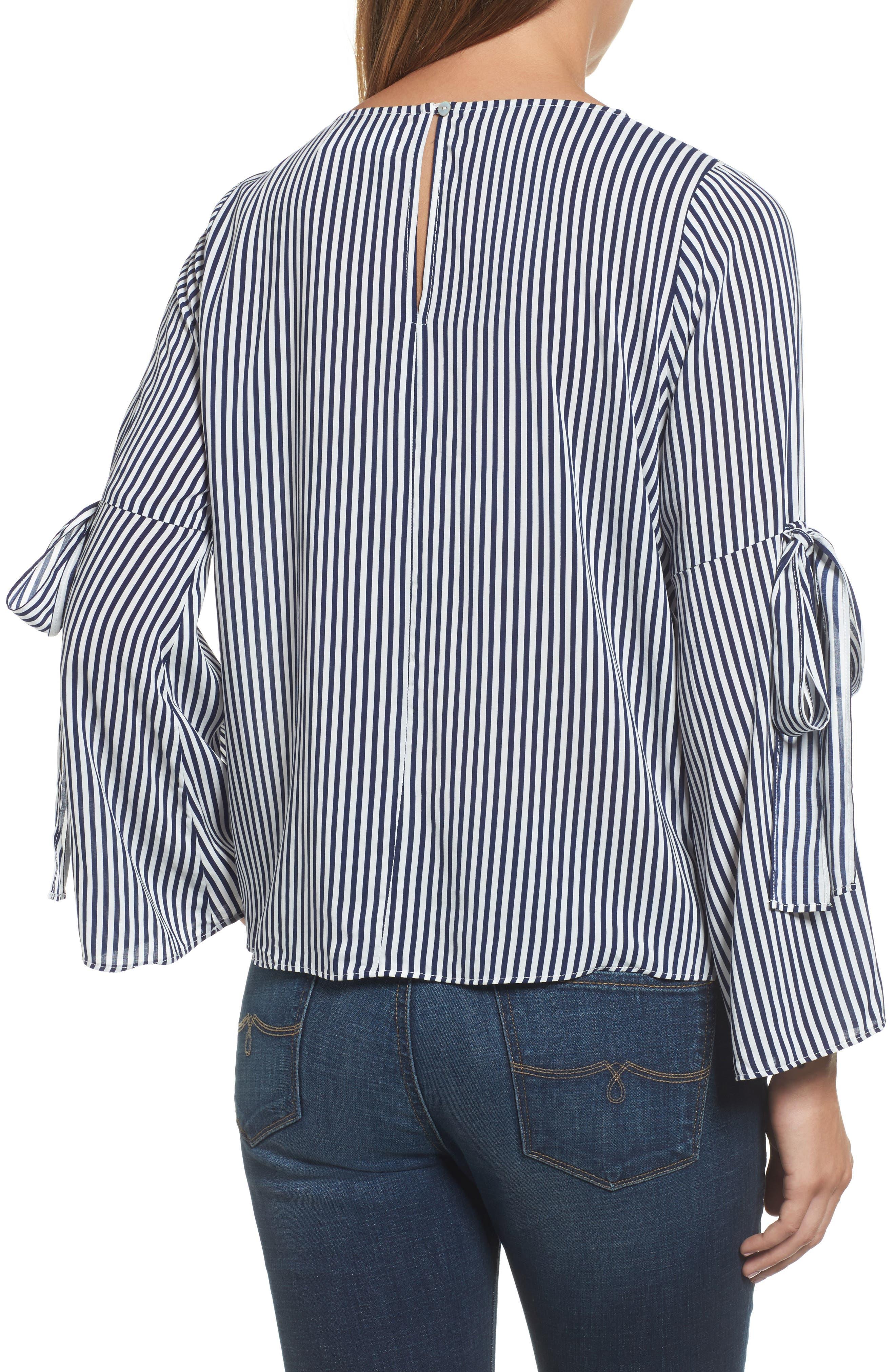 Alternate Image 3  - Velvet by Graham & Spencer Stripe Tie Bell Sleeve Blouse