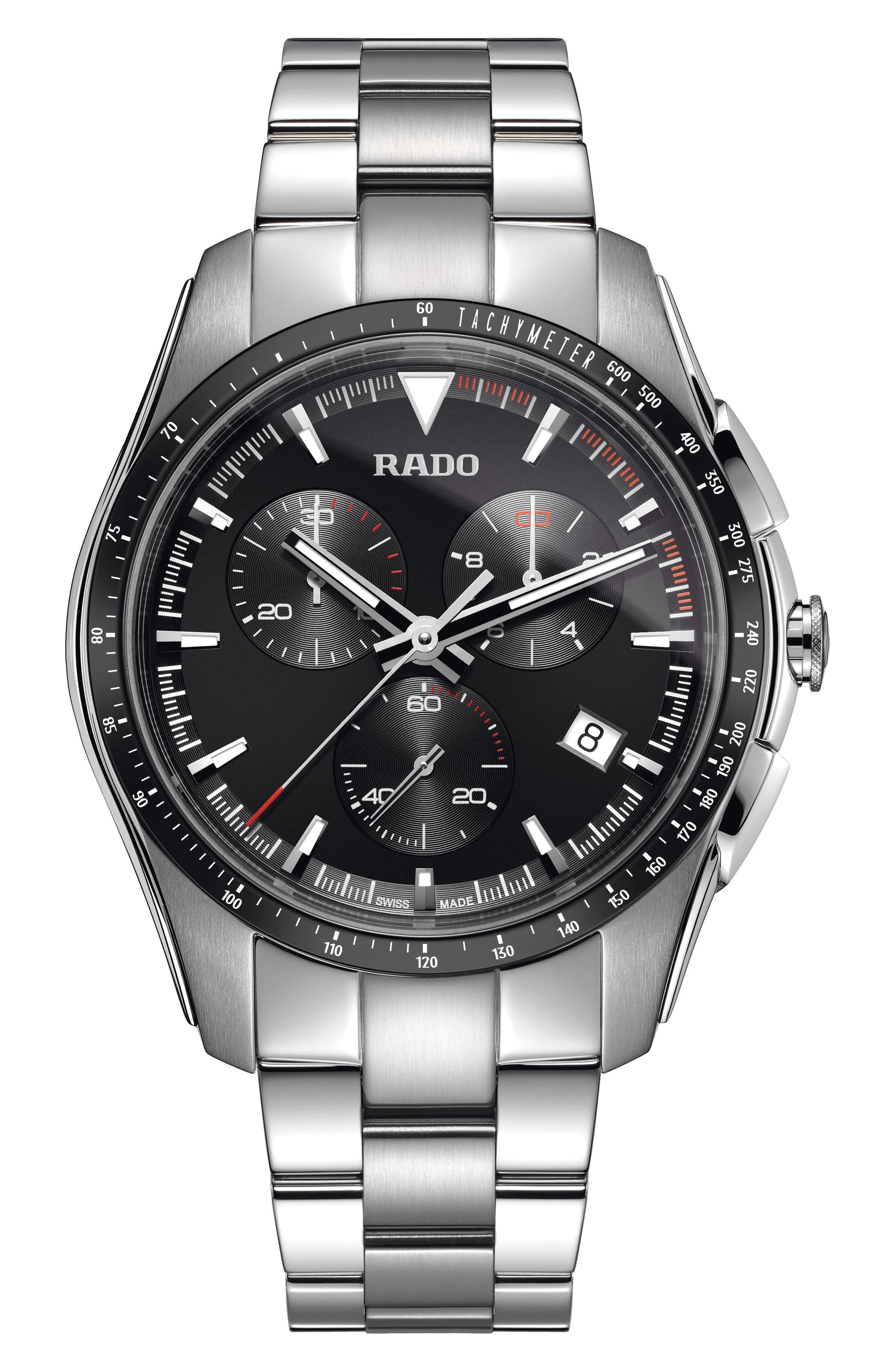RADO Hyperchrome Chronograph Bracelet Watch, 45Mm in Silver/ Black/ Silver