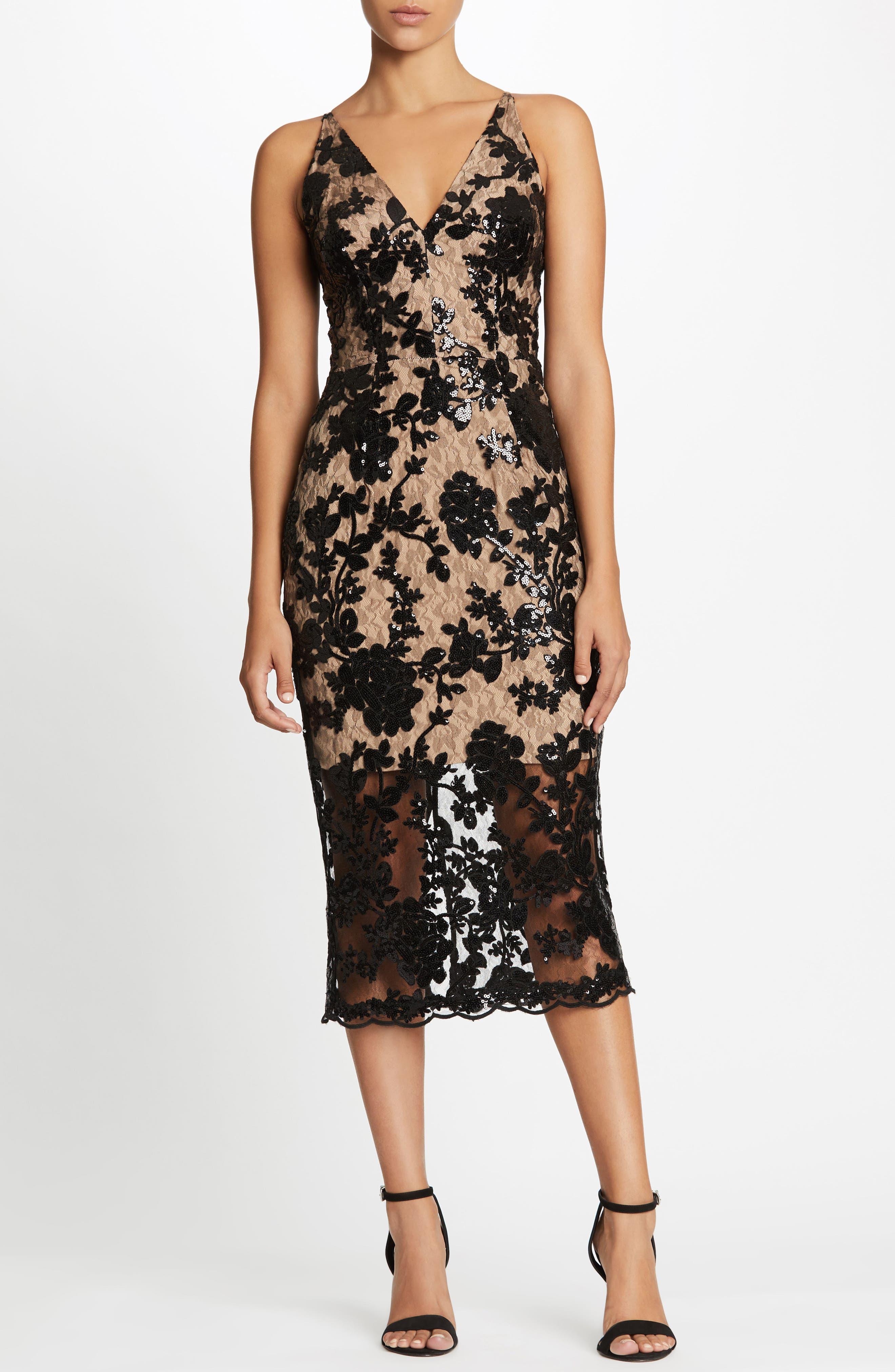 Rebecca Floral Lace Midi Dress,                         Main,                         color, Black/ Nude