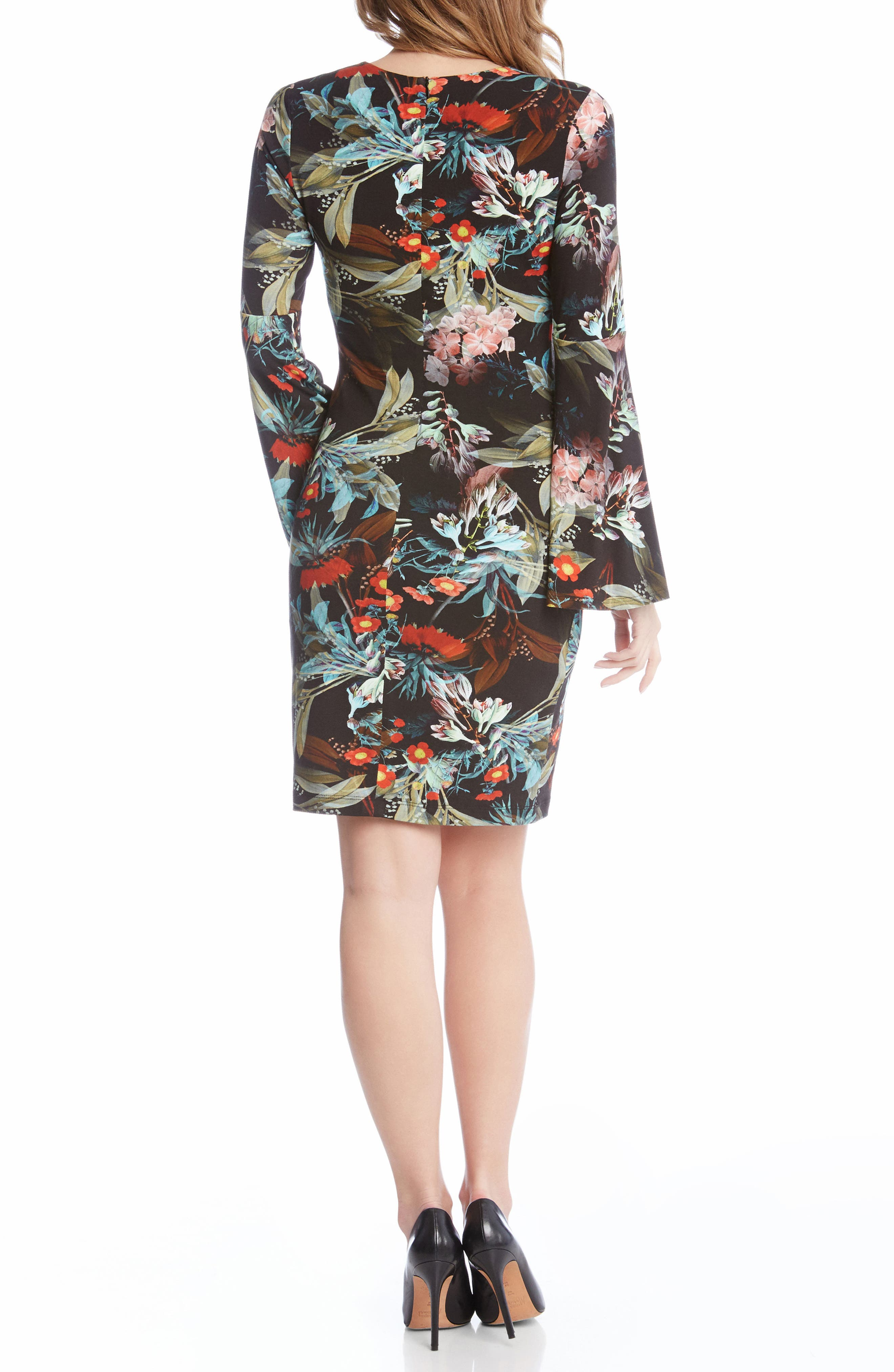 Bell Sleeve V-Neck Dress,                             Alternate thumbnail 4, color,                             Print