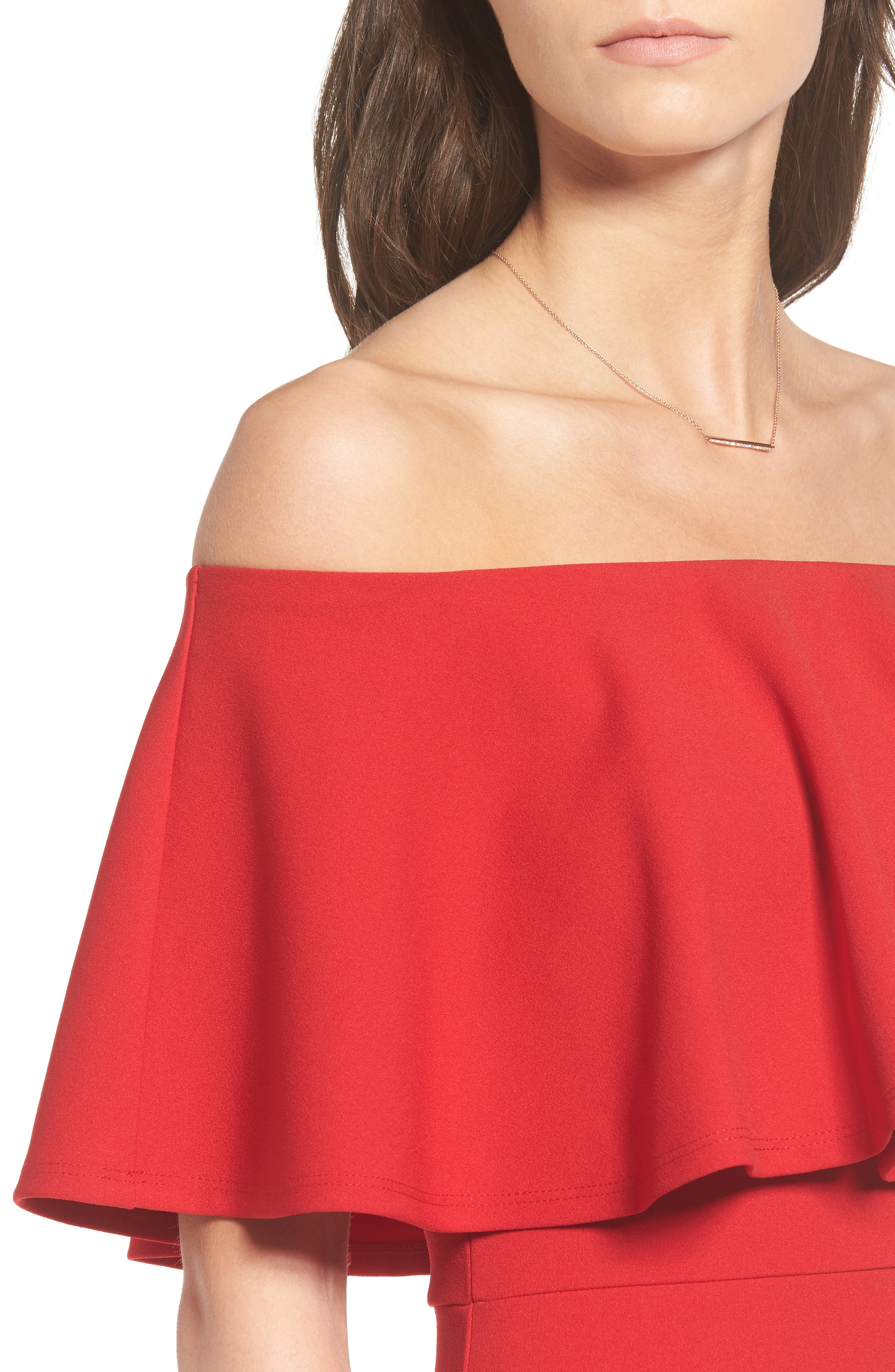 Ruffle Off the Shoulder Body-Con Dress,                             Alternate thumbnail 4, color,                             African Red
