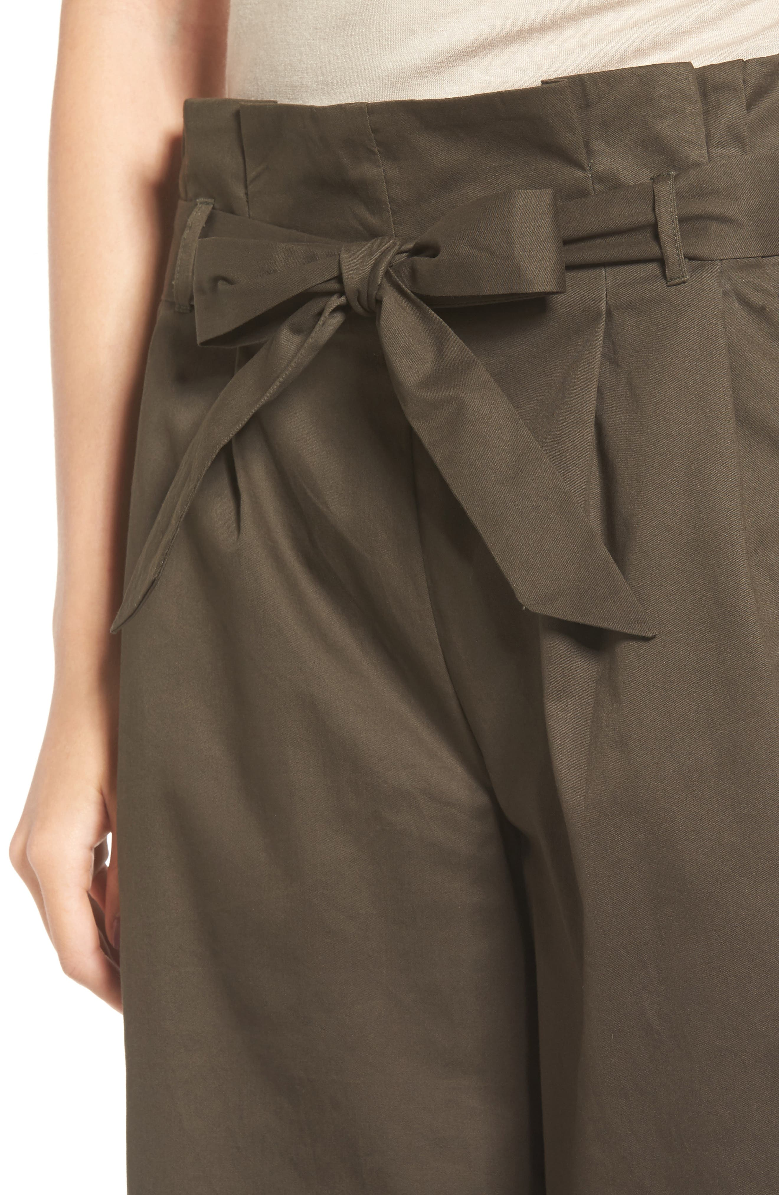 Paperbag Waist Wide Leg Pants,                             Alternate thumbnail 4, color,                             Brined Olive