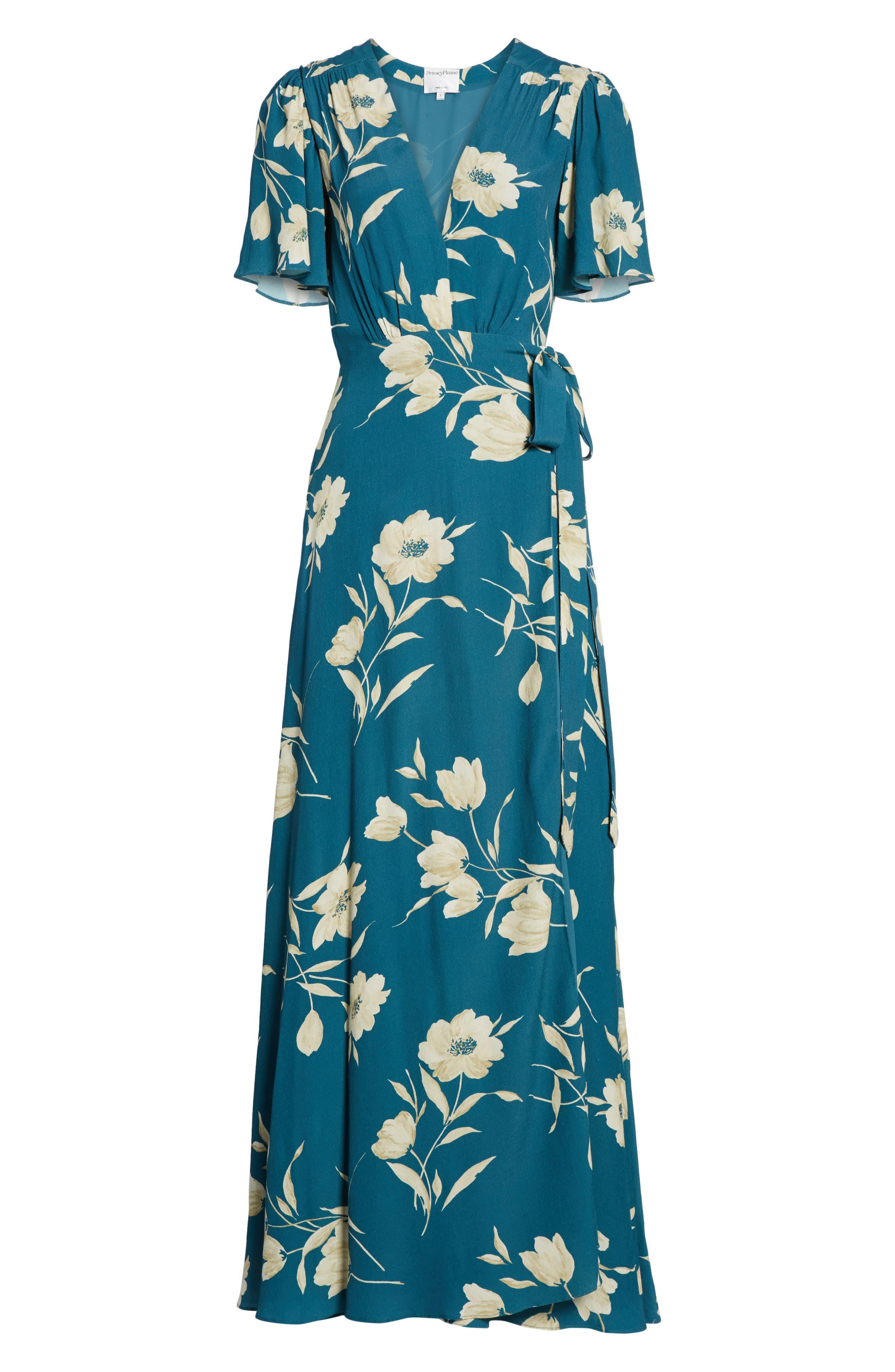 Plaza Wrap Maxi Dress,                             Alternate thumbnail 6, color,                             Sage Floral