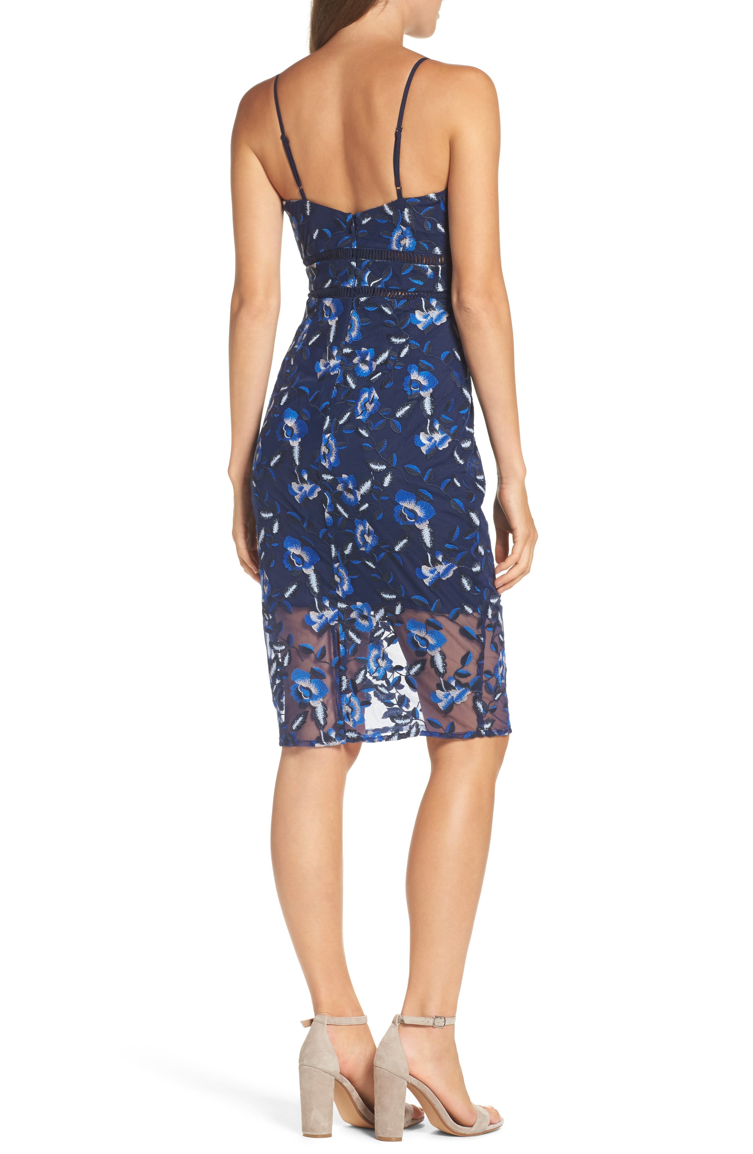 Sapphire Lace Pencil Dress,                             Alternate thumbnail 2, color,                             Floral