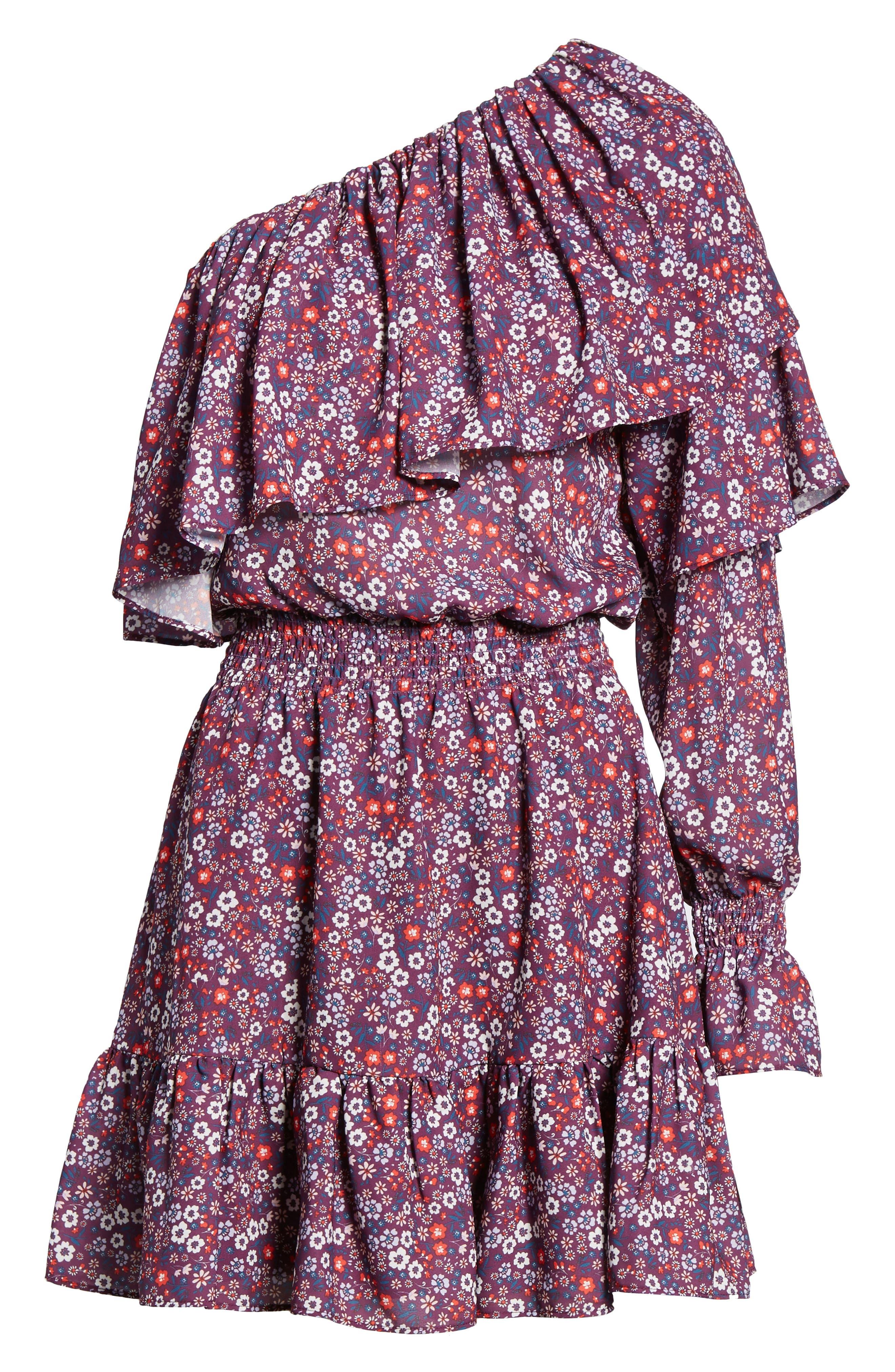 Irina One-Shoulder Blouson Dress,                             Alternate thumbnail 6, color,                             Magnolia