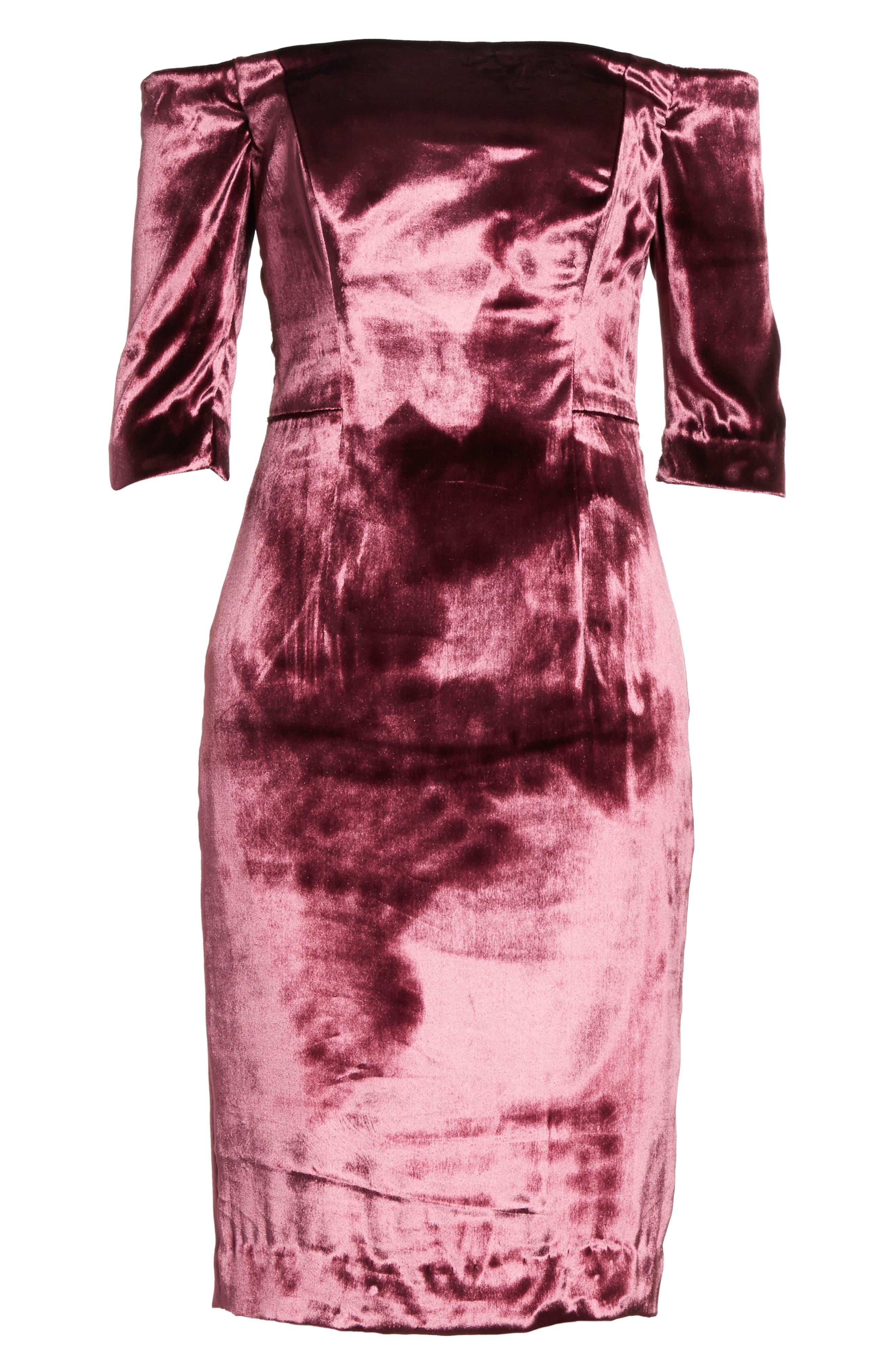 Panne Velvet Body-Con Off-the-Shoulder Dress,                             Alternate thumbnail 6, color,                             Burgundy