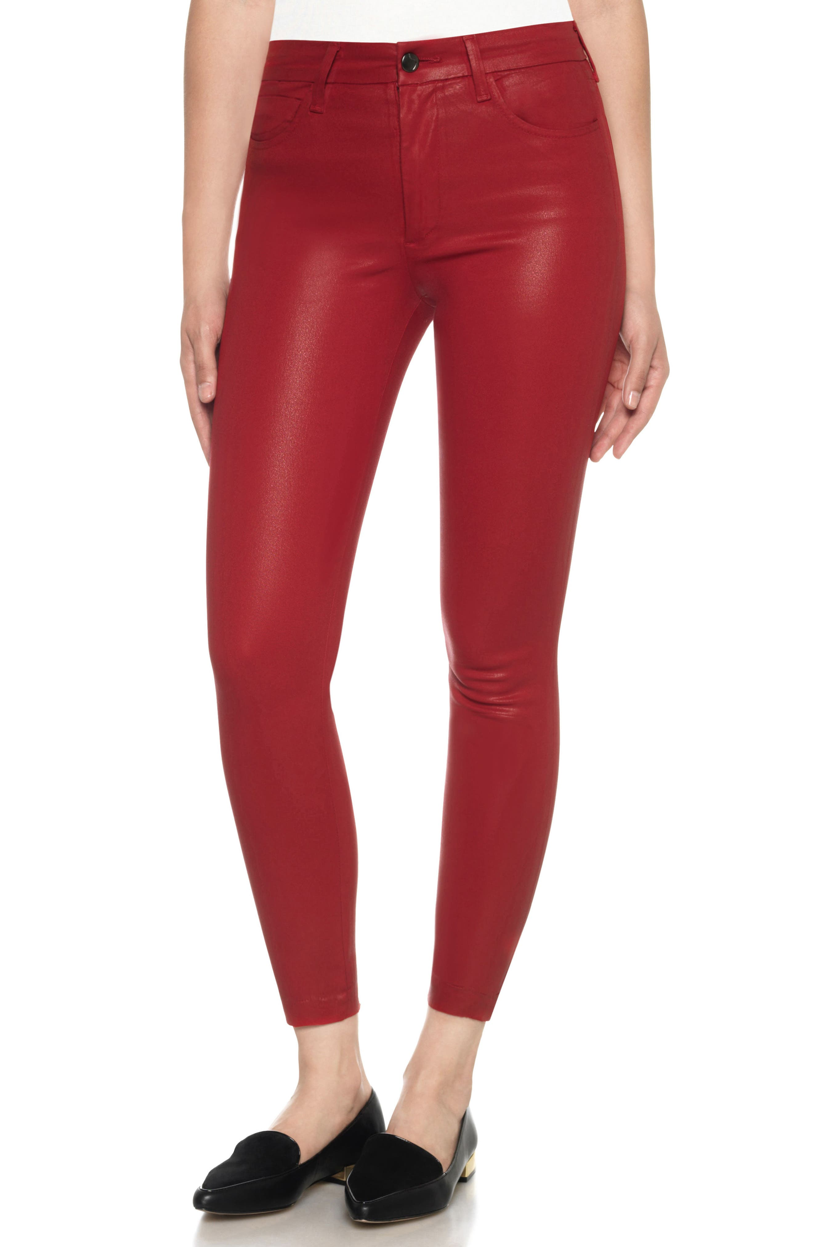 Charlie Coated High Waist Ankle Skinny Jeans,                         Main,                         color, Soft Spice