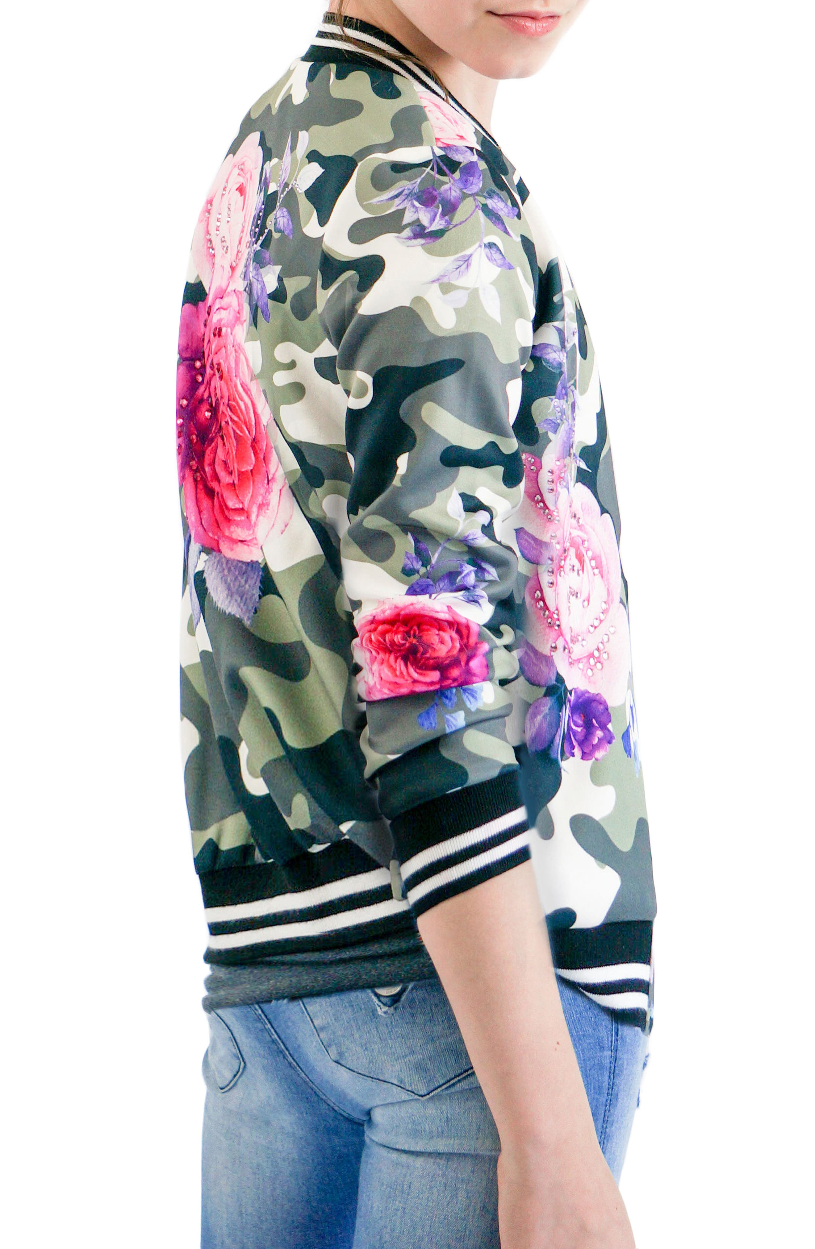 Camo & Rose Bomber Jacket,                             Alternate thumbnail 2, color,                             Green Multi